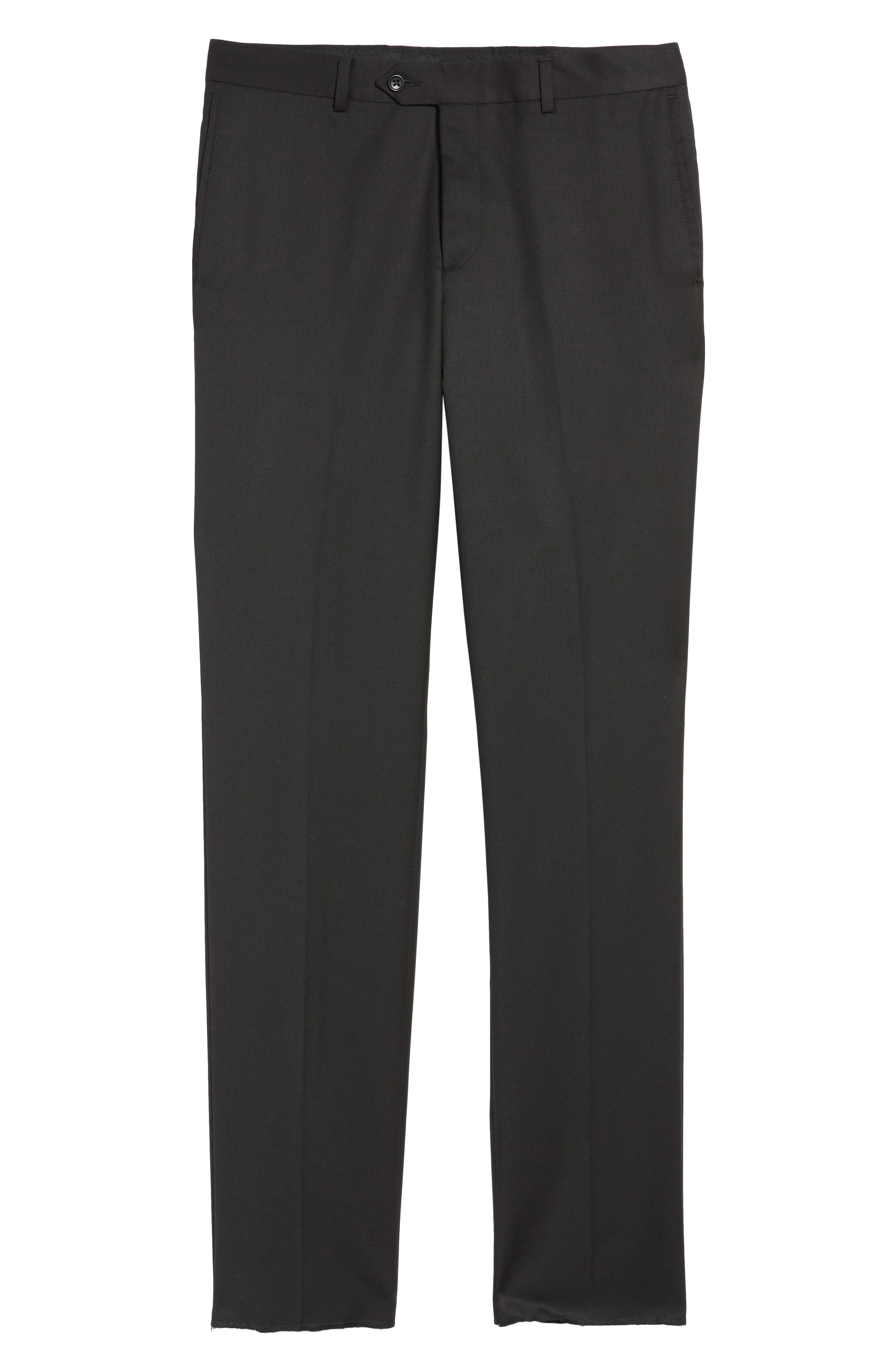 Flat Front Wool Trousers,                             Alternate thumbnail 2, color,                             001