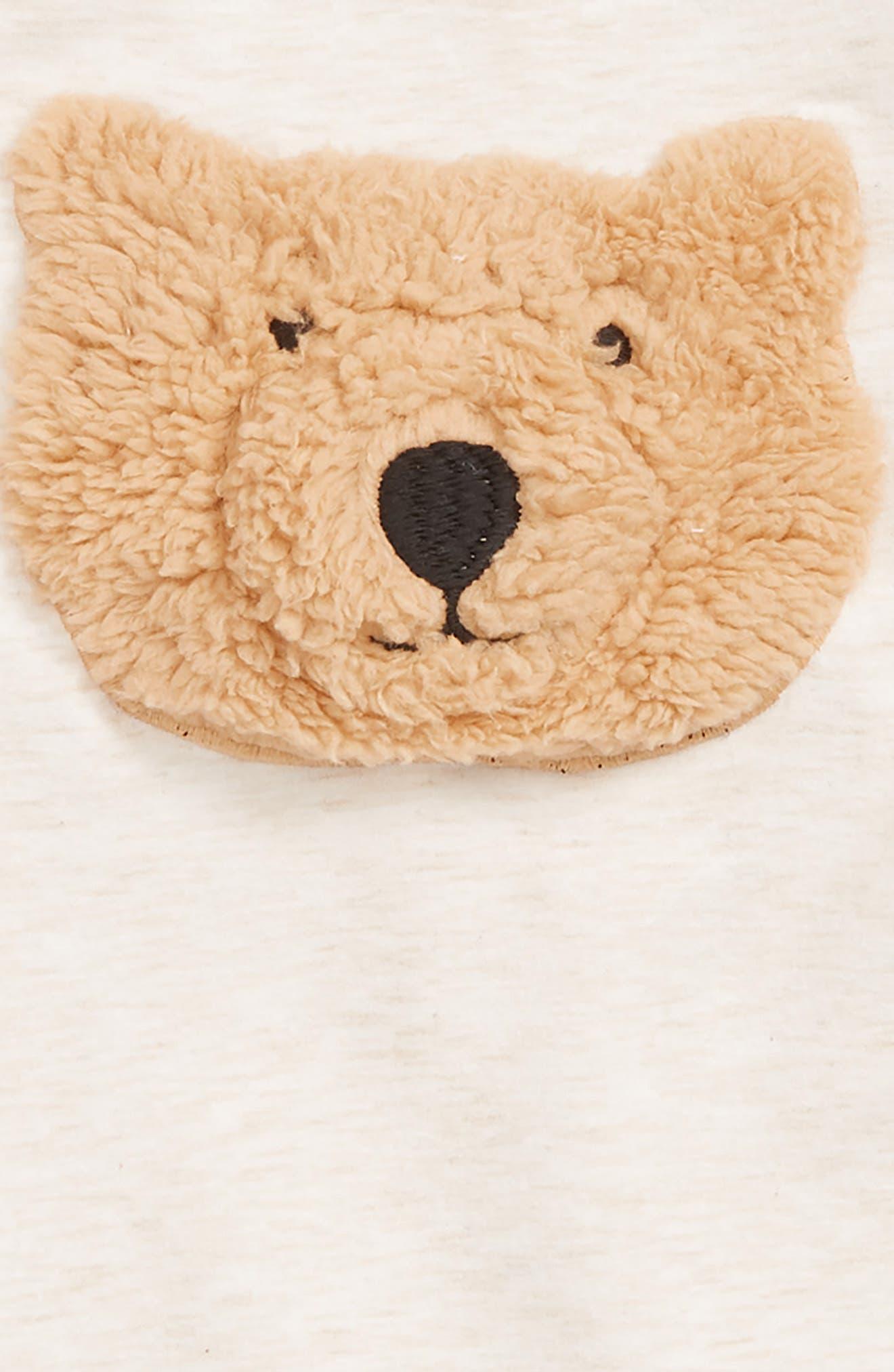 Cozy Bear Romper,                             Alternate thumbnail 2, color,                             IVORY VANILLA HEATHER BEAR
