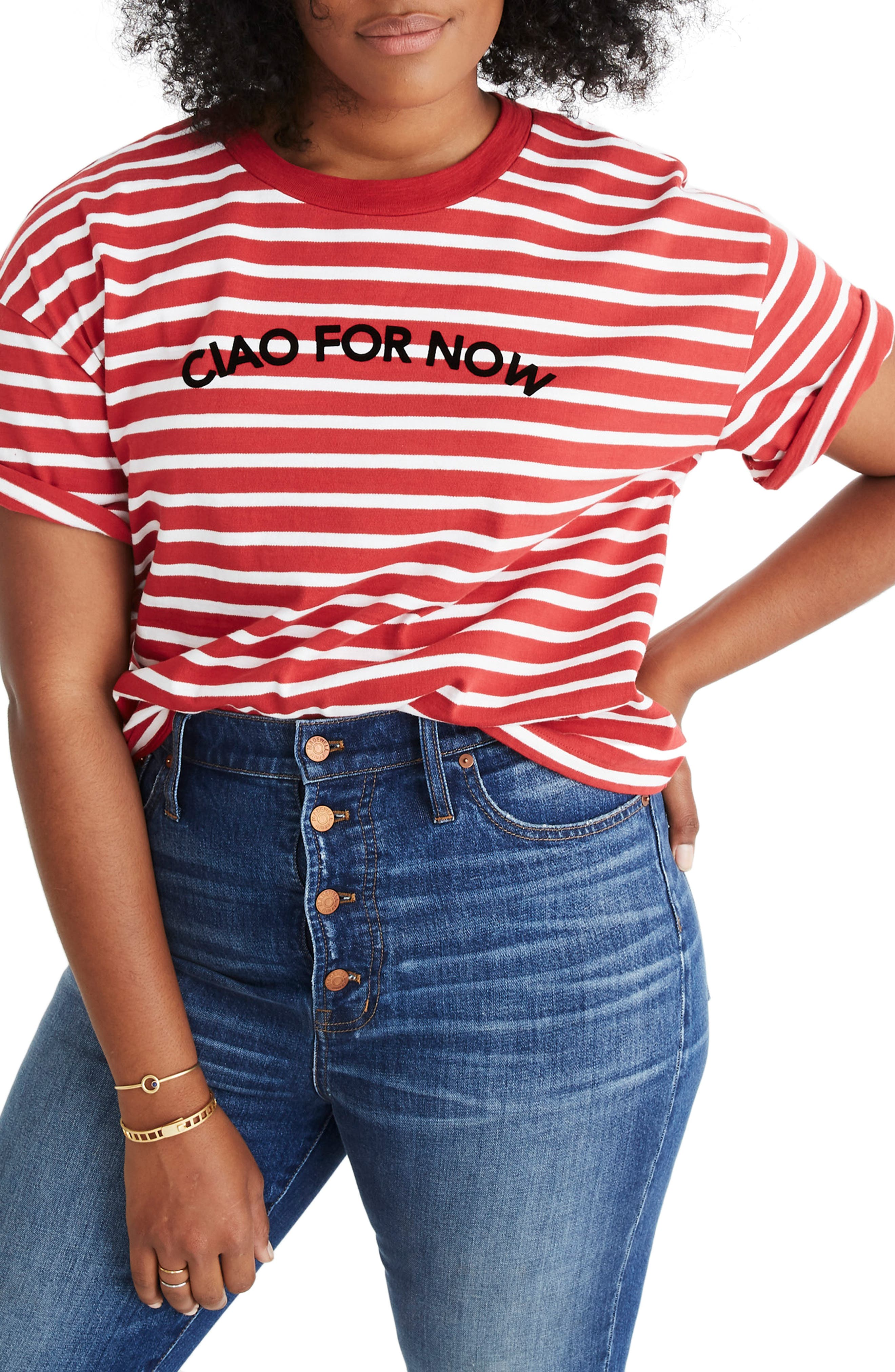 MADEWELL,                             Stripe Ciao for Now Tee,                             Alternate thumbnail 2, color,                             600
