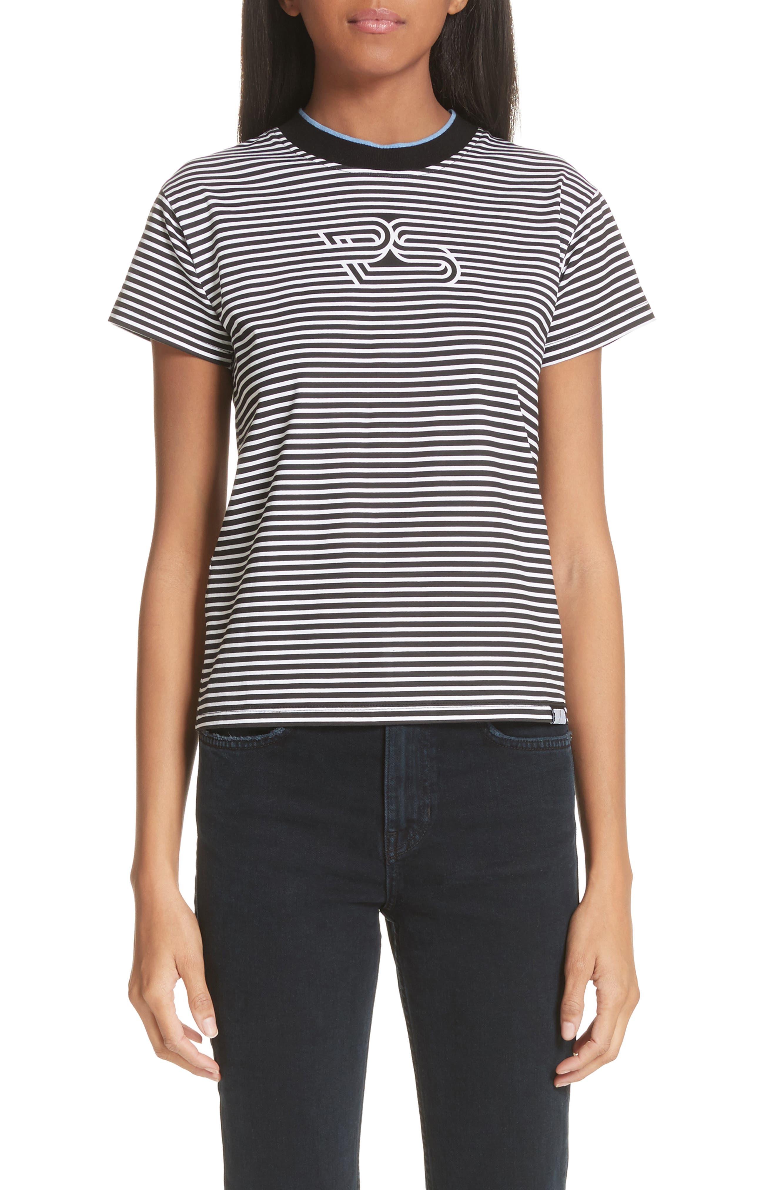 Proenza Schouler Logo Stripe Tee, Black