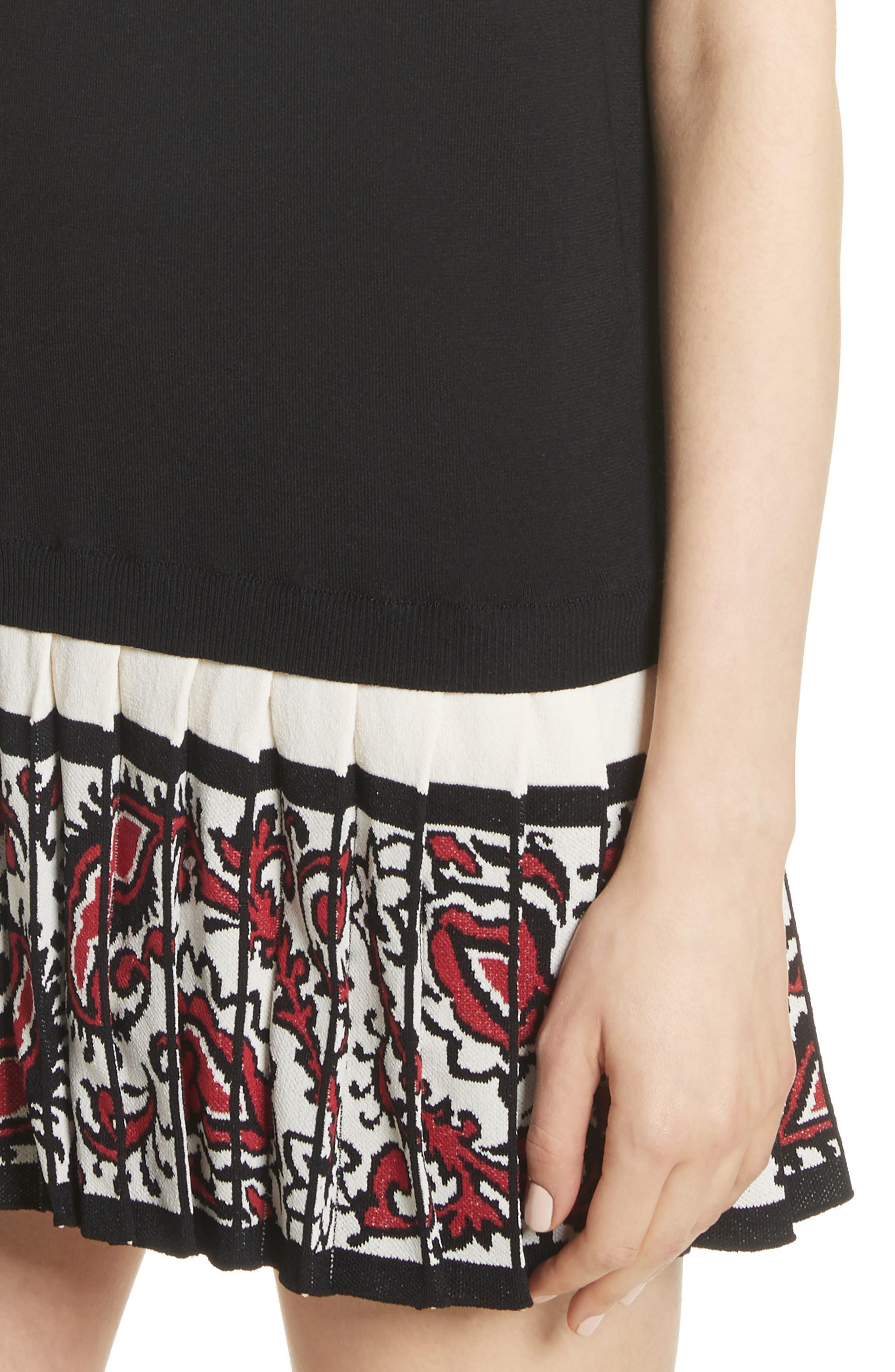 Pleated Hem T-Shirt Dress,                             Alternate thumbnail 4, color,                             001