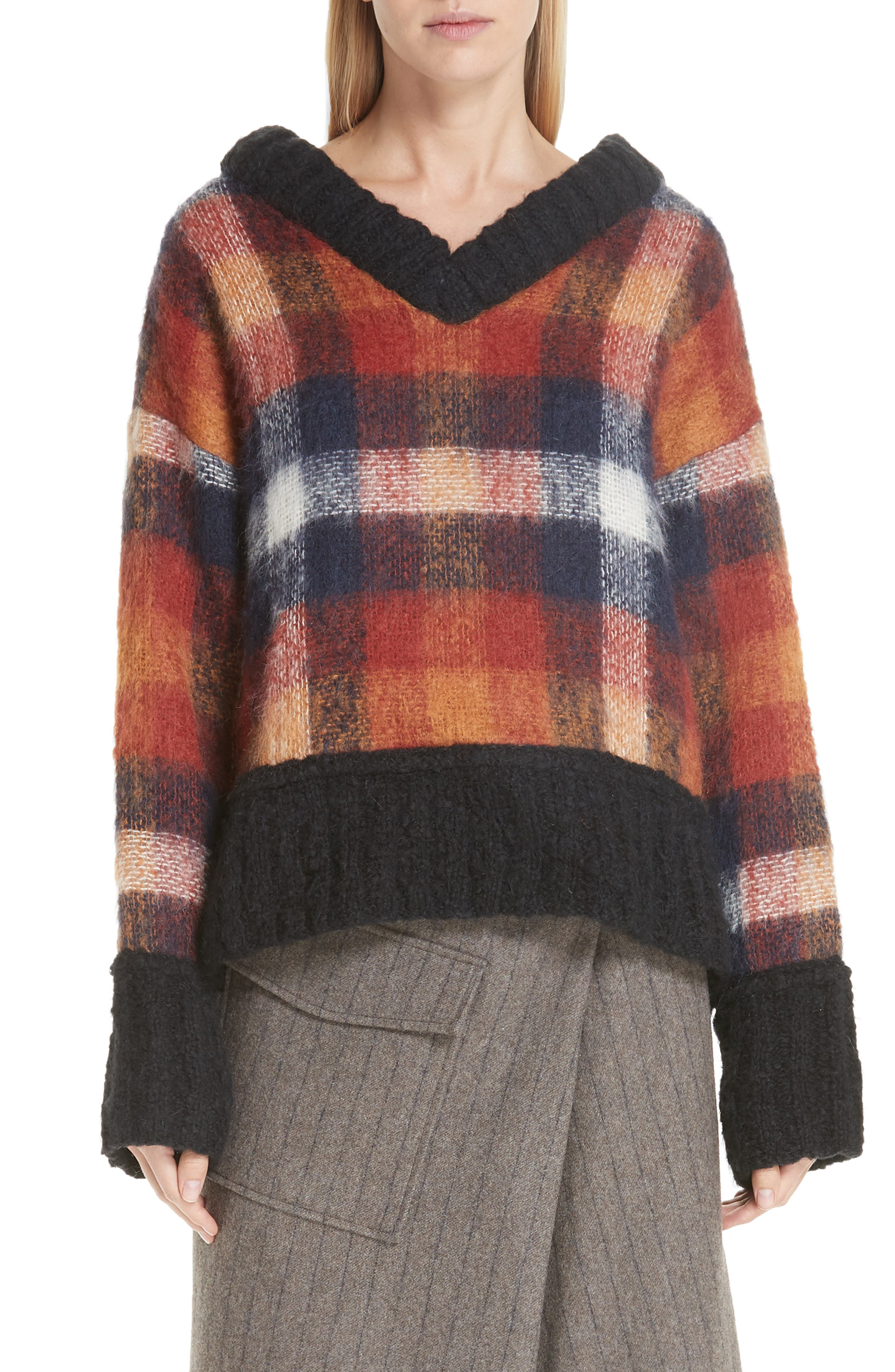 Maryam Mohair & Wool Blend Sweater,                             Main thumbnail 1, color,                             PLAID MULTI