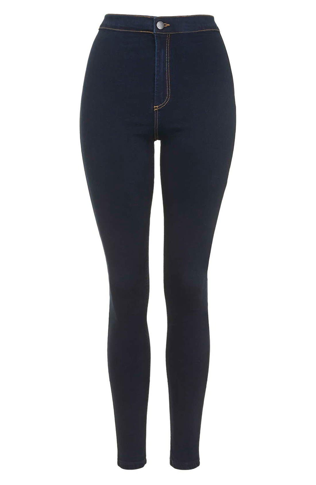 Moto 'Joni' Super Skinny Jeans,                             Alternate thumbnail 6, color,                             NAVY BLUE