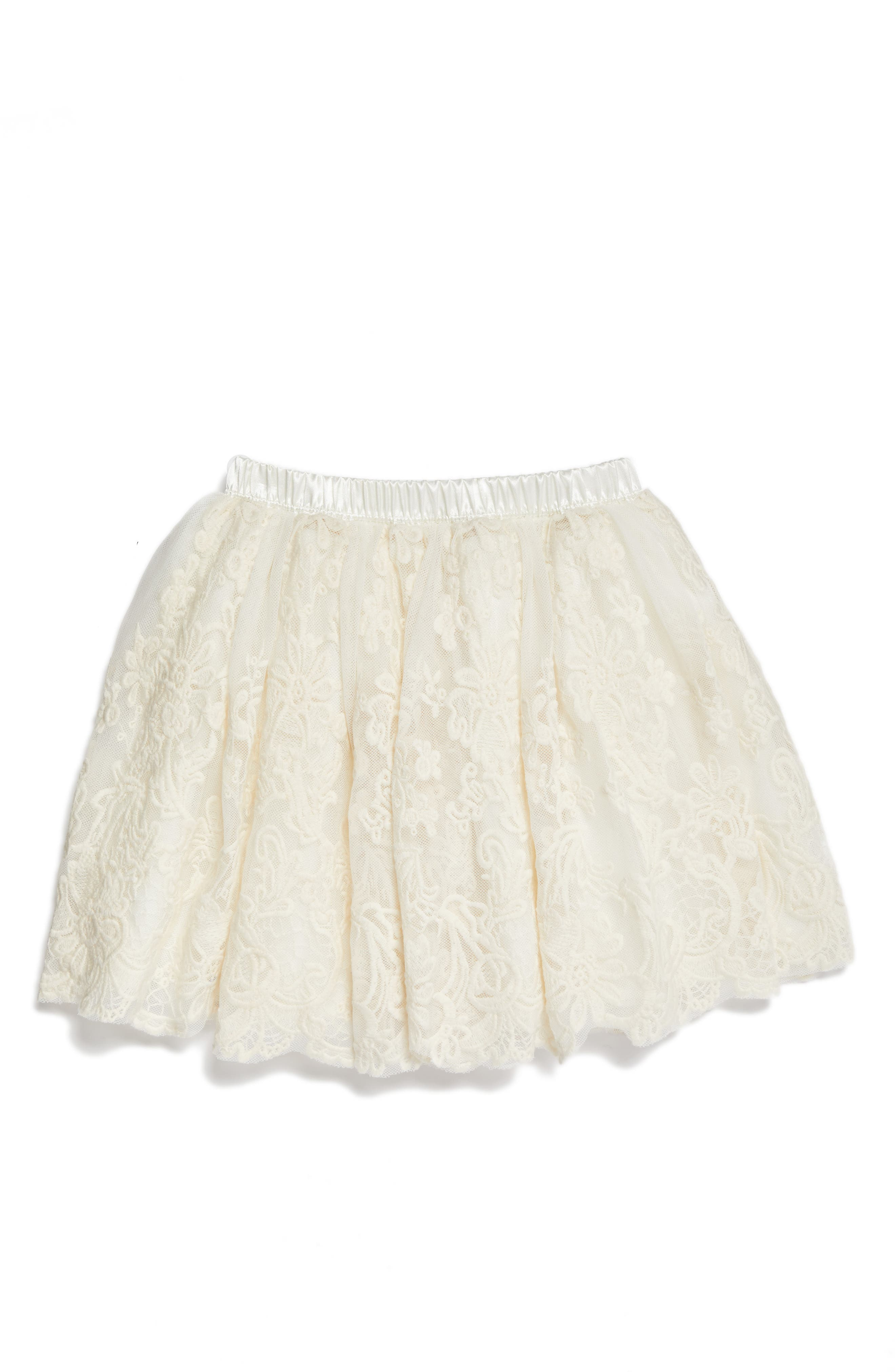 Lace Tutu Skirt,                         Main,                         color, IVORY