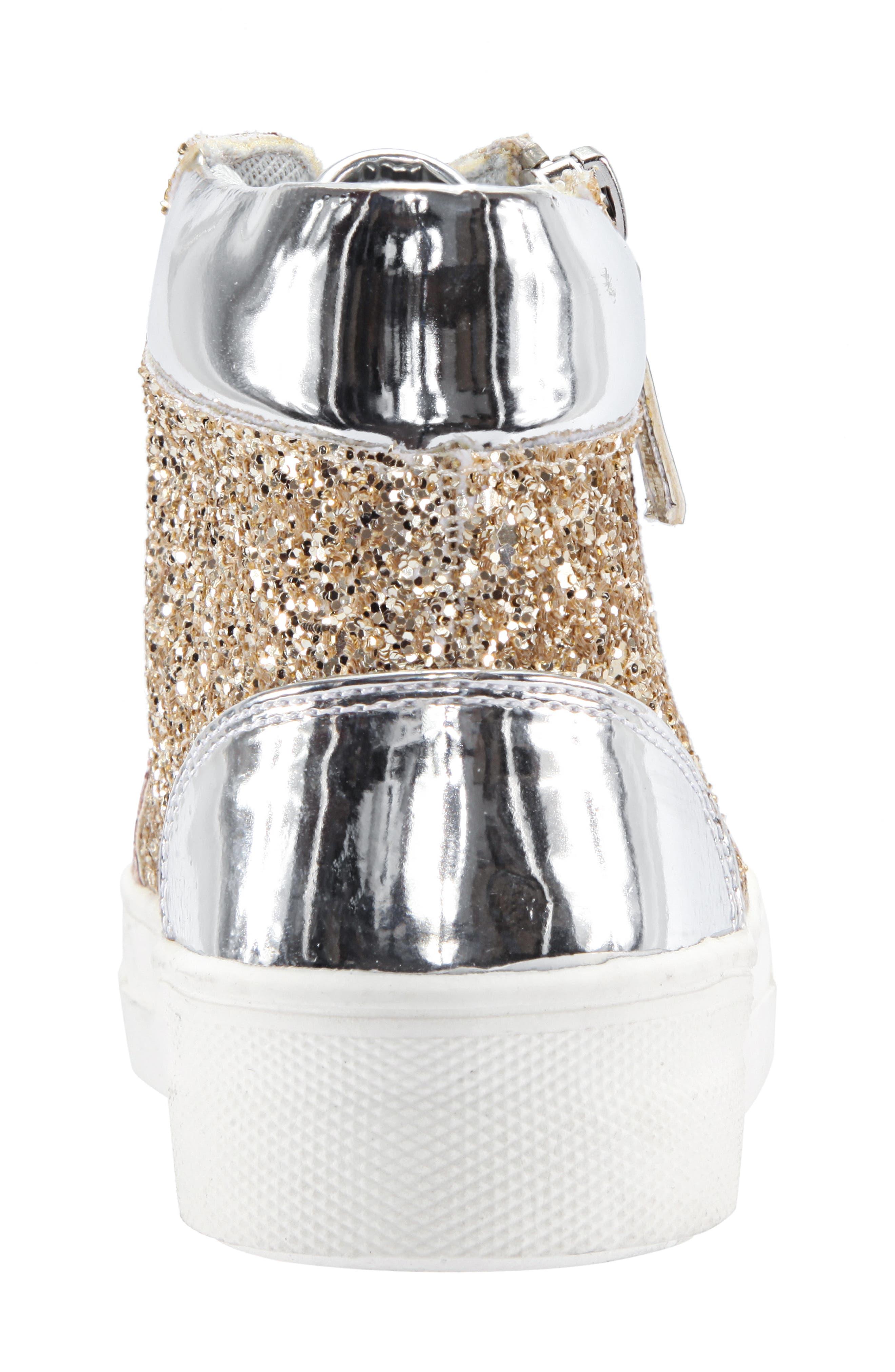Hylda Glitter High Top Sneaker,                             Alternate thumbnail 7, color,                             SILVER MULTI GLITTER/ PATENT