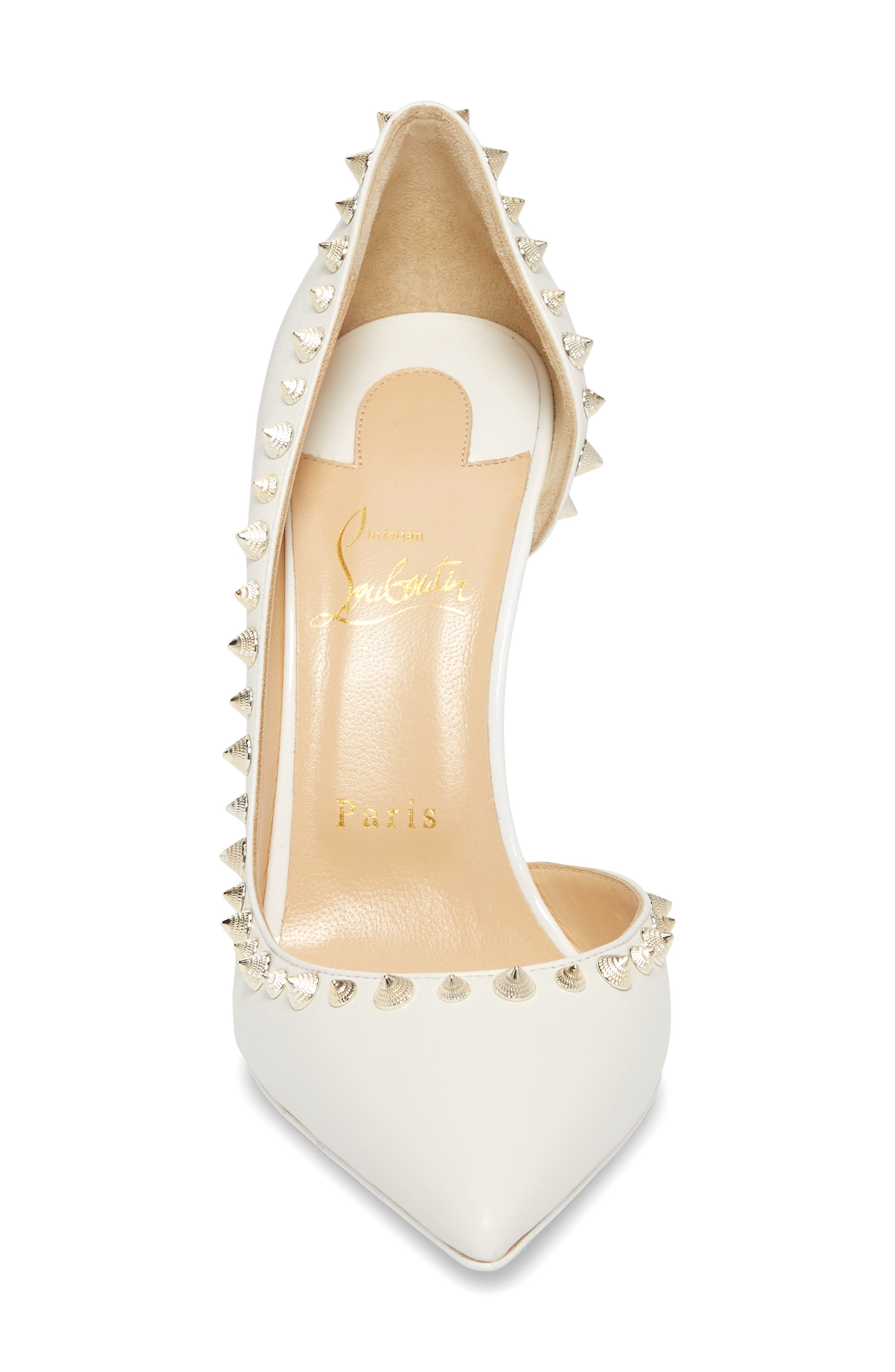 Irishell Spiked Half d'Orsay Pump,                             Alternate thumbnail 4, color,                             LATTE/ WHITE GOLD