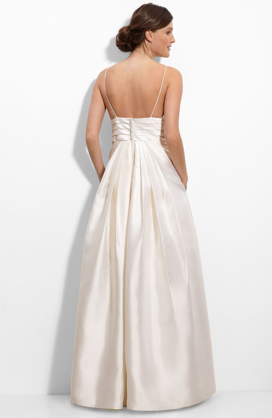 ELIZA J,                             Beaded Lace Inset Silk Mikado Gown,                             Alternate thumbnail 2, color,                             900