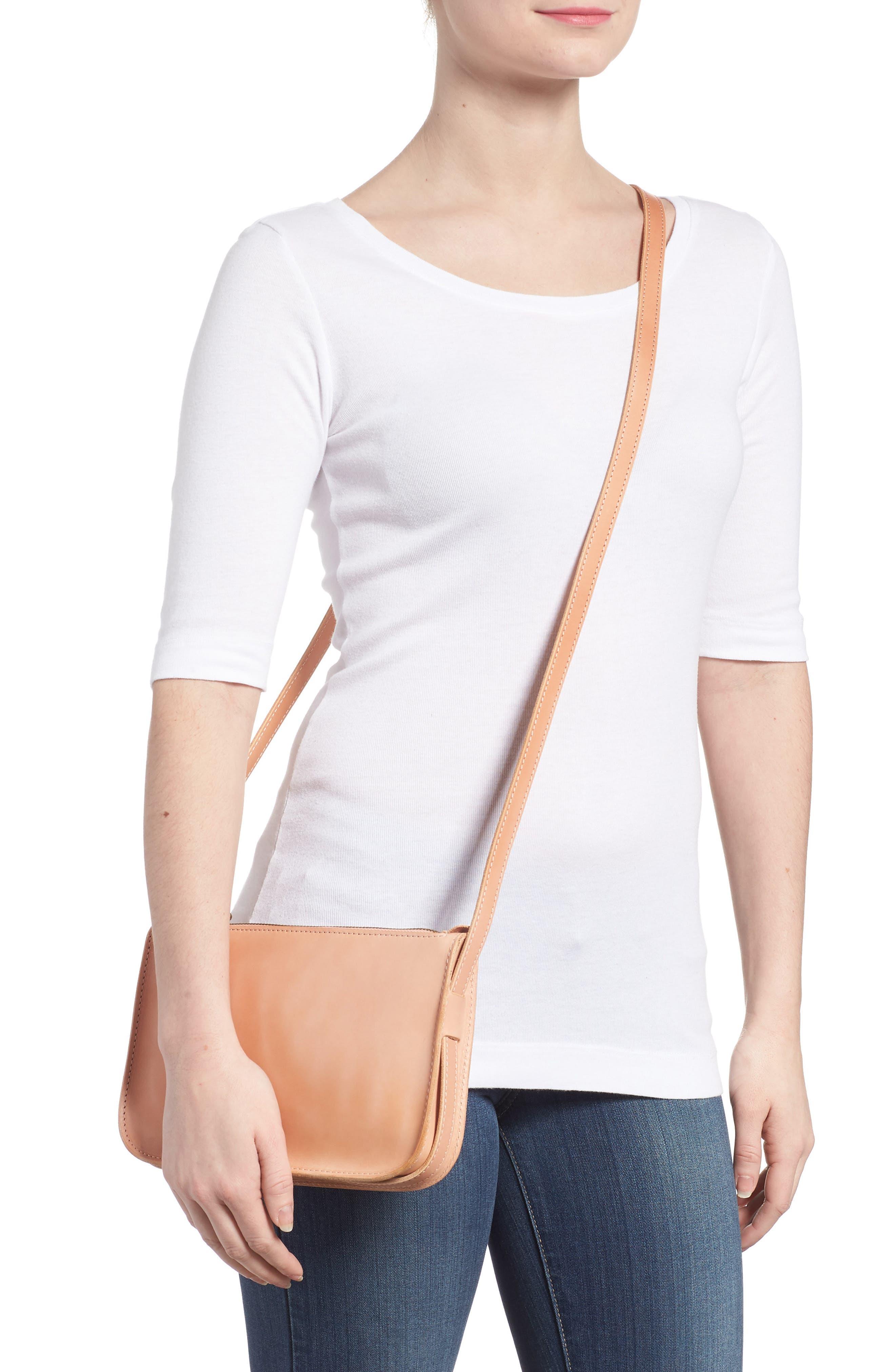 Simple Leather Crossbody Bag,                             Alternate thumbnail 2, color,                             PETAL PINK