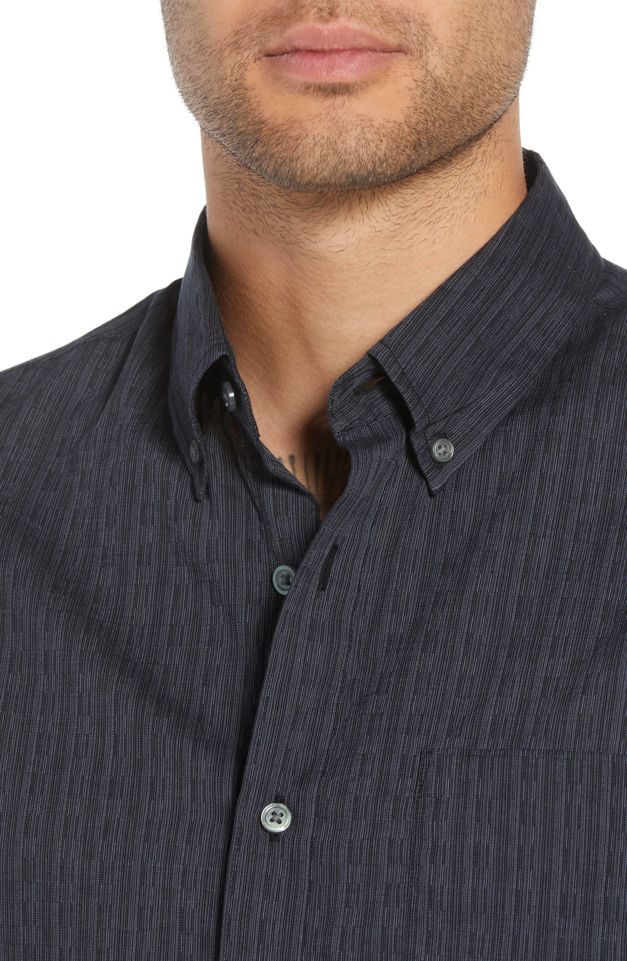 Regular Fit Roll Sleeve Sport Shirt,                             Alternate thumbnail 2, color,                             BLACK