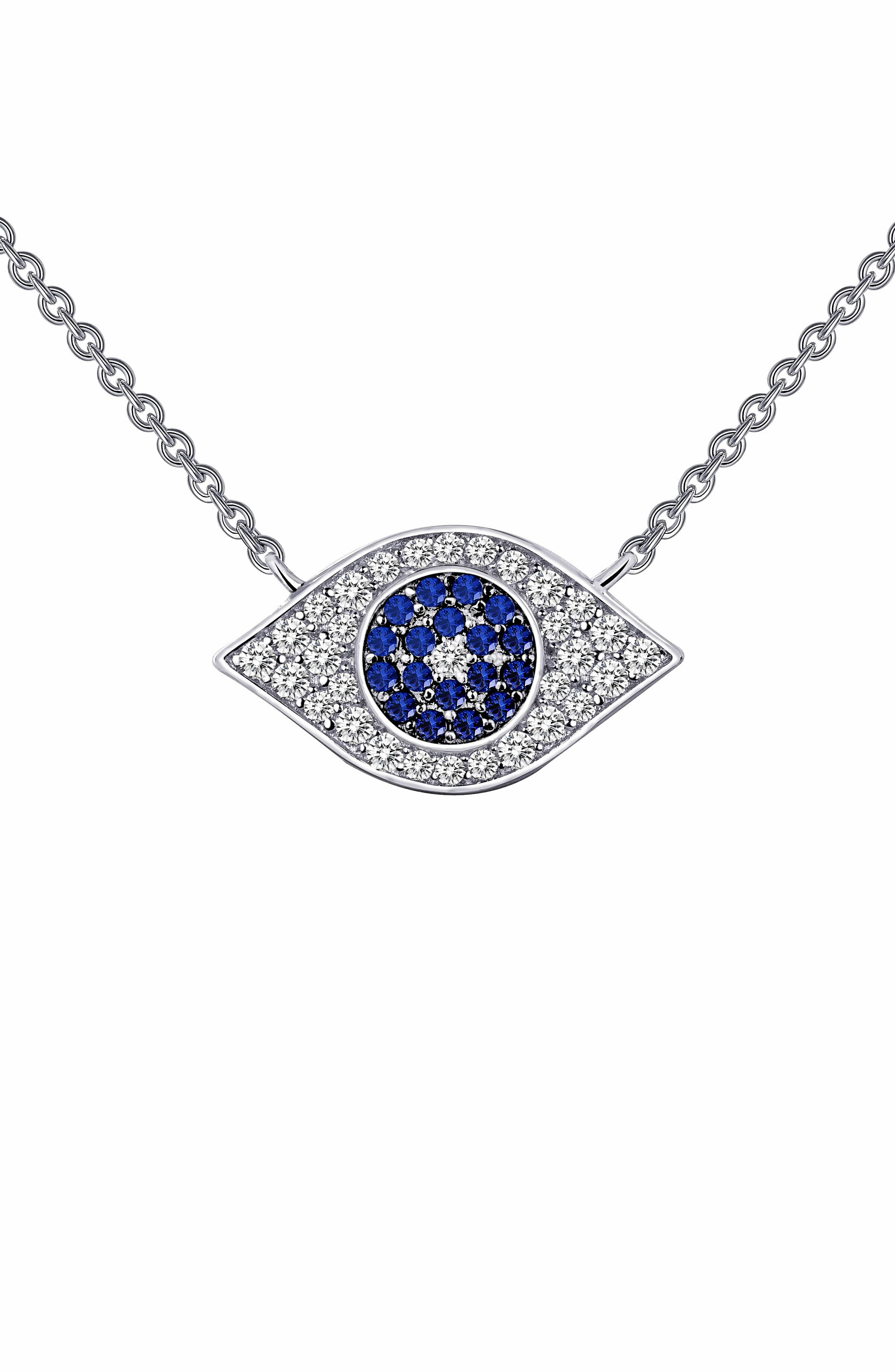 Simulated Diamond Amulet Pendant Necklace,                         Main,                         color, SAPPHIRE / SILVER