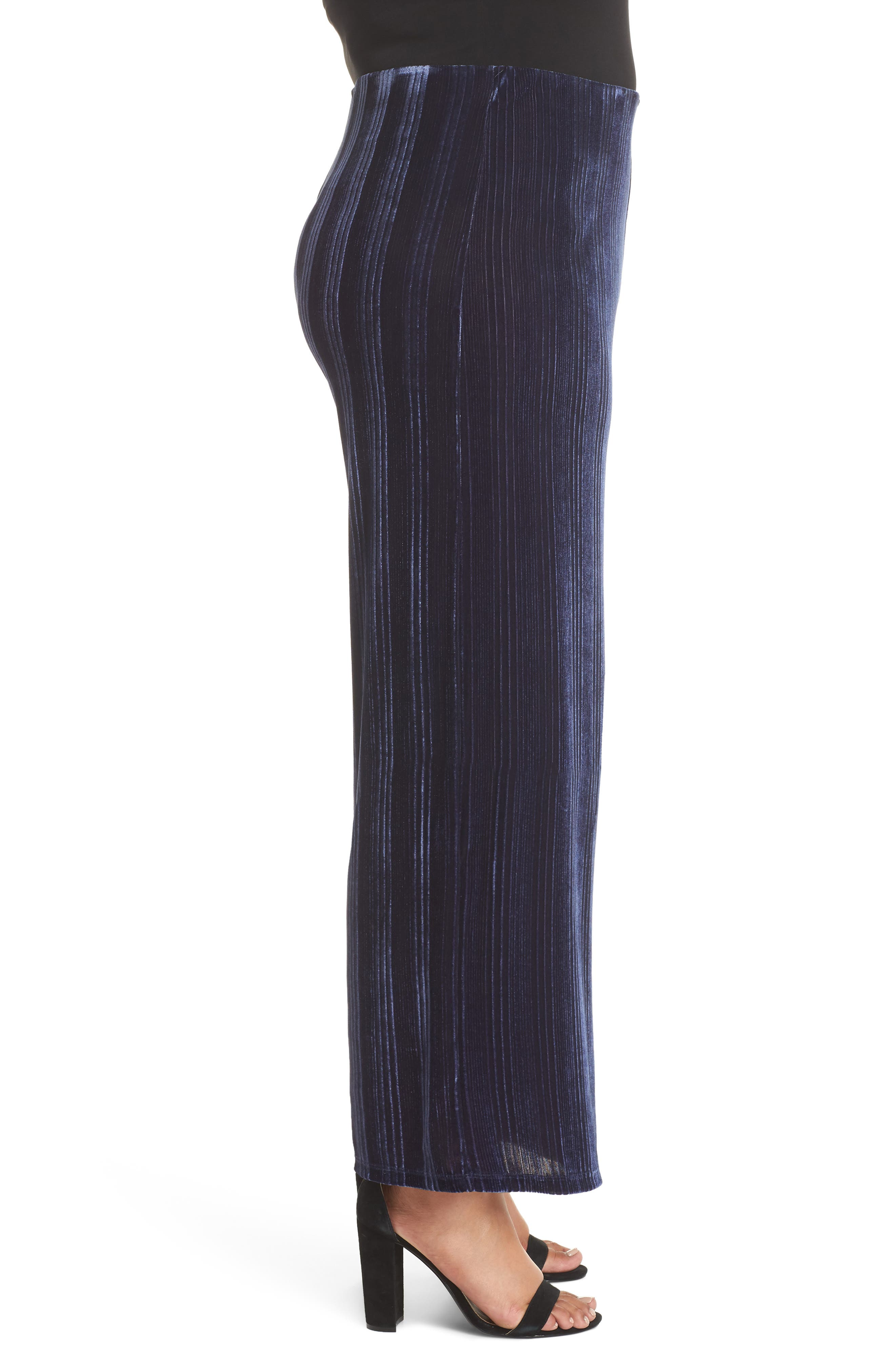 High Rise Velour Wide Leg Crop Pants,                             Alternate thumbnail 3, color,                             NAVY MARITIME