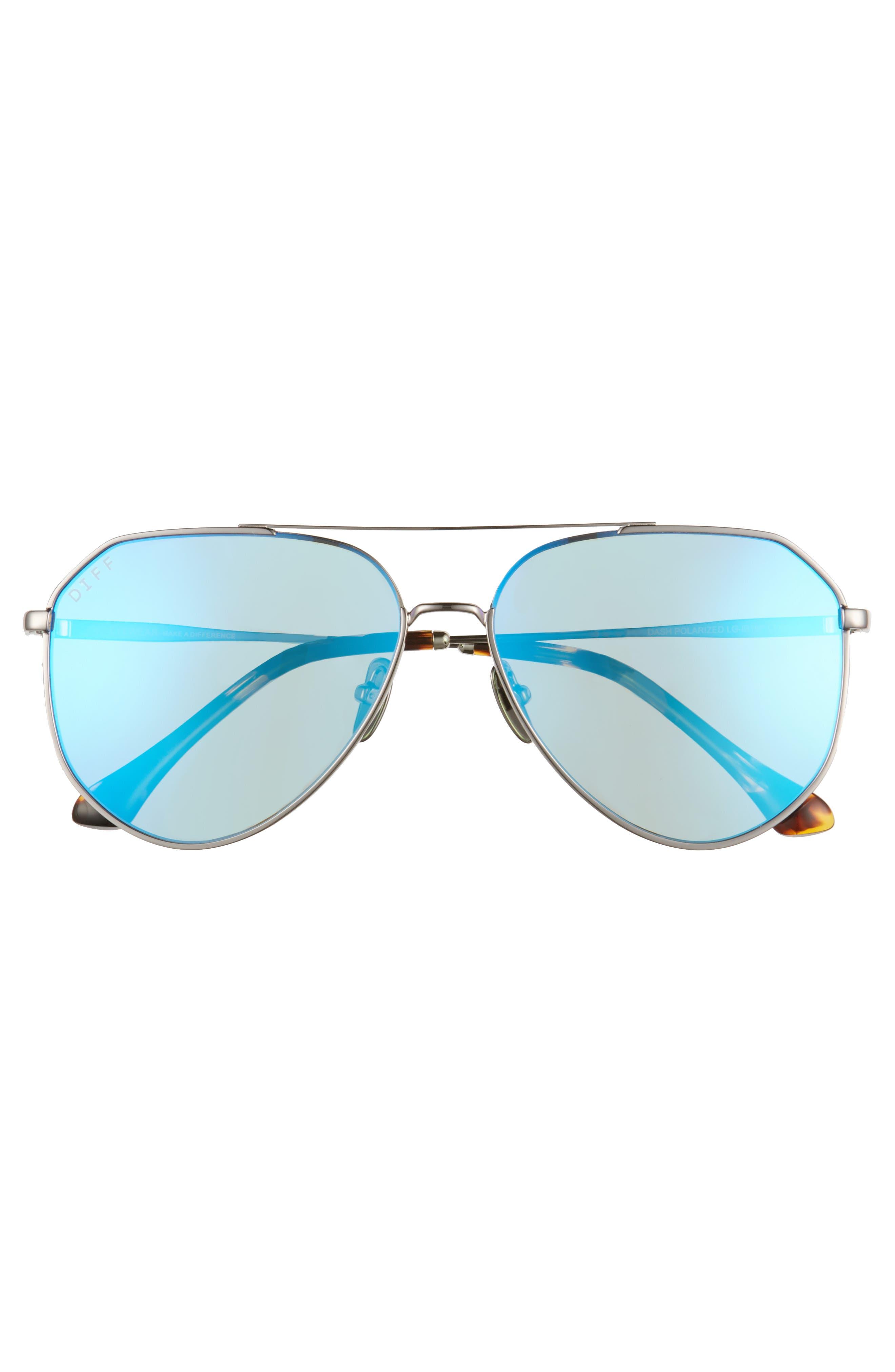 Dash 61mm Polarized Aviator Sunglasses,                             Alternate thumbnail 3, color,                             GUNMETAL/ ICE BLUE