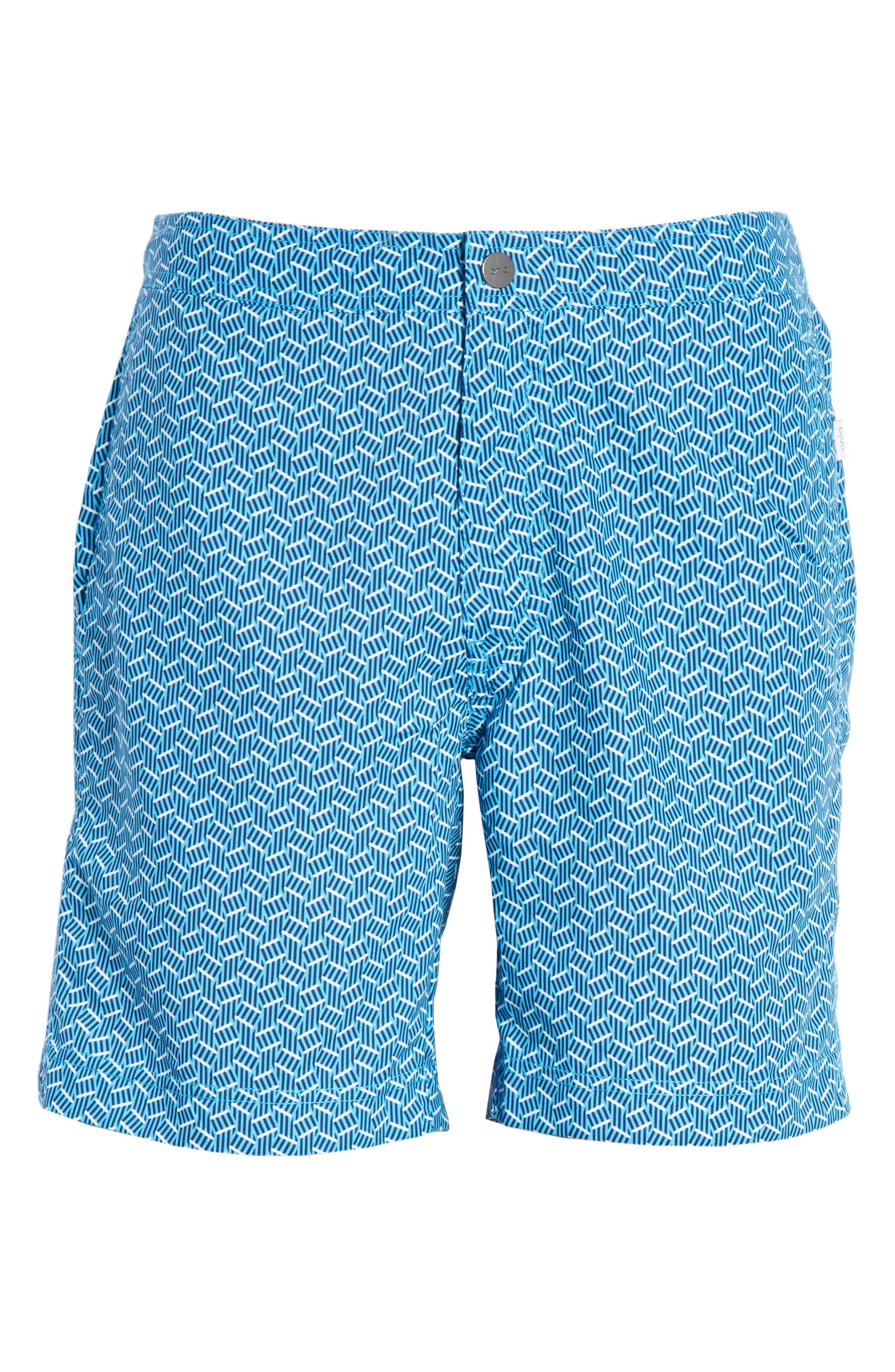 Calder Swim Trunks,                             Alternate thumbnail 6, color,                             POOL BLUE