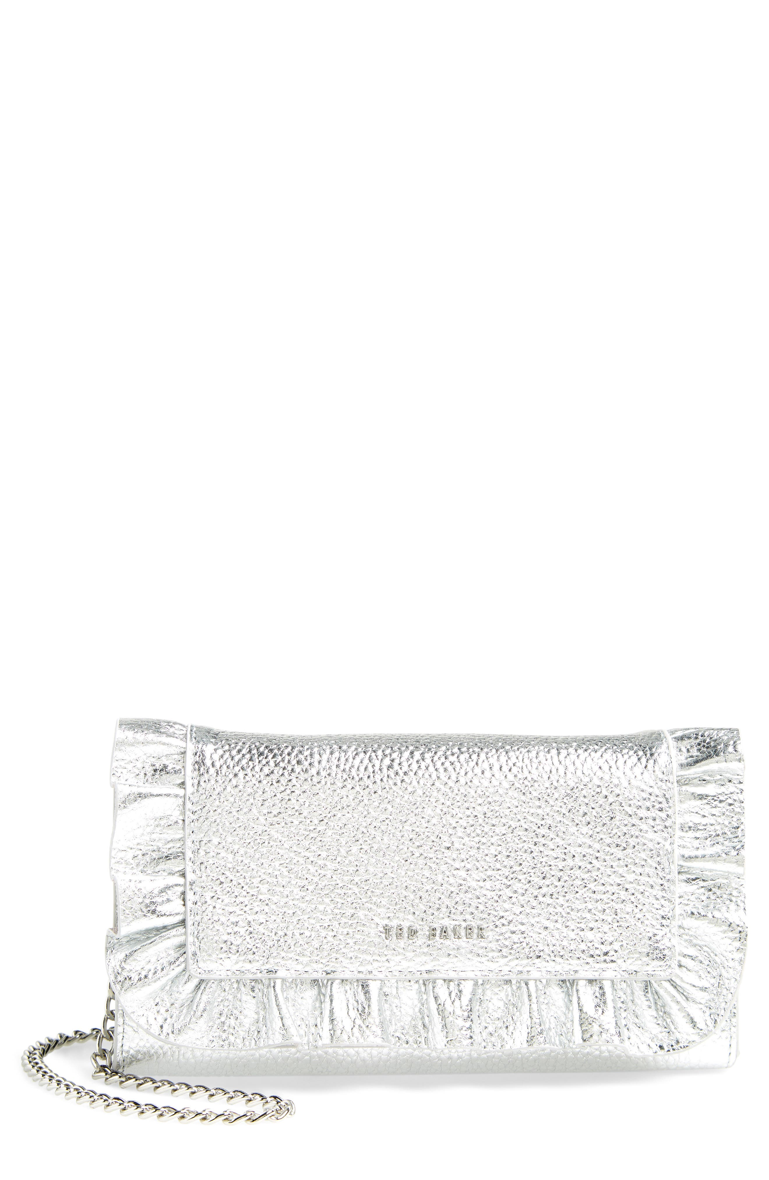 Ruffle Leather Matinée Wallet,                             Main thumbnail 1, color,                             SILVER