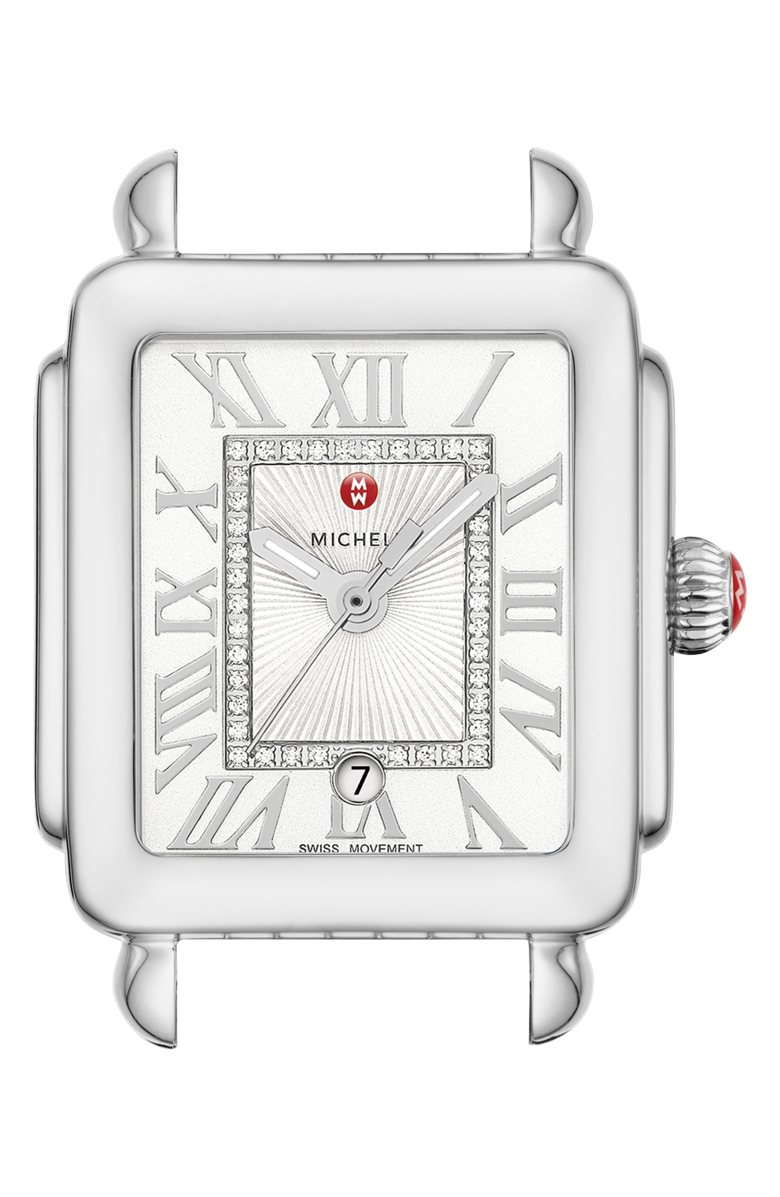 Deco Madison Mid Diamond Dial Watch Head, 29mm x 31mm, Main, color, SILVER/ SILVER WHITE SUNRAY