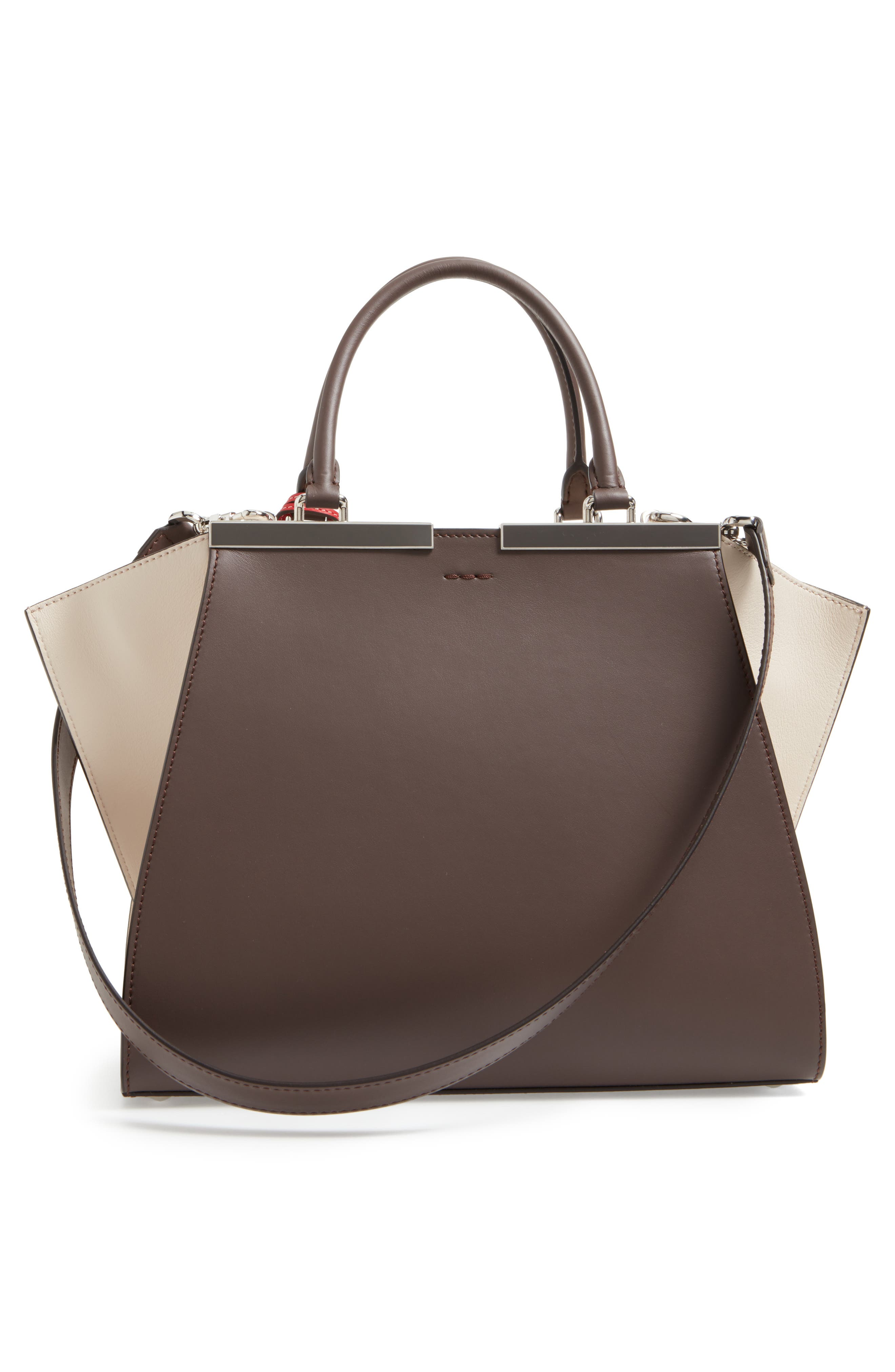 3Jours Colorblock Calfskin Leather Shopper,                             Alternate thumbnail 4, color,                             CHOCOLATE/ WHITE