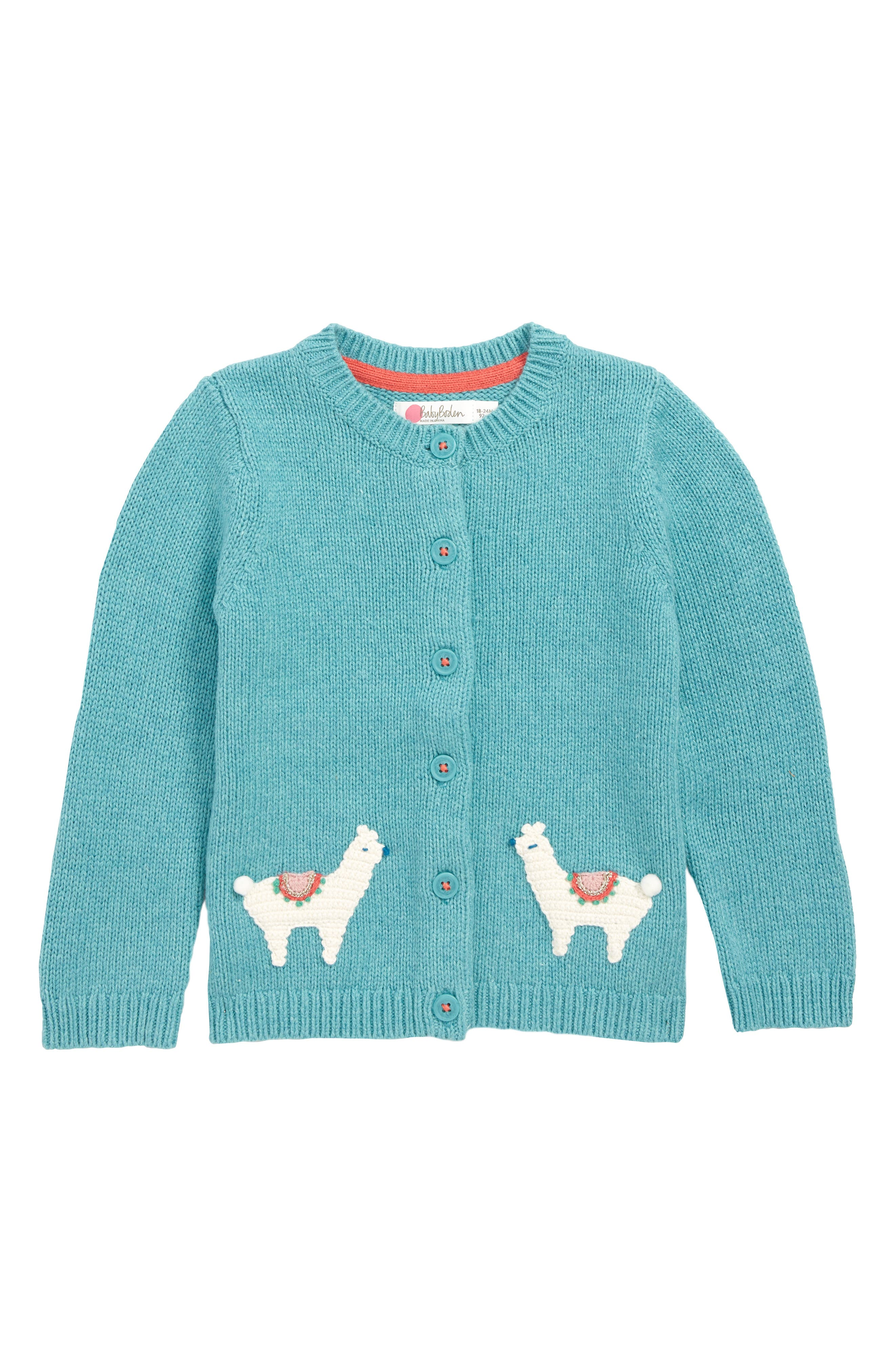 Toddler Girls Mini Boden Characterful Crochet Knit Cardigan Size 03M  Green