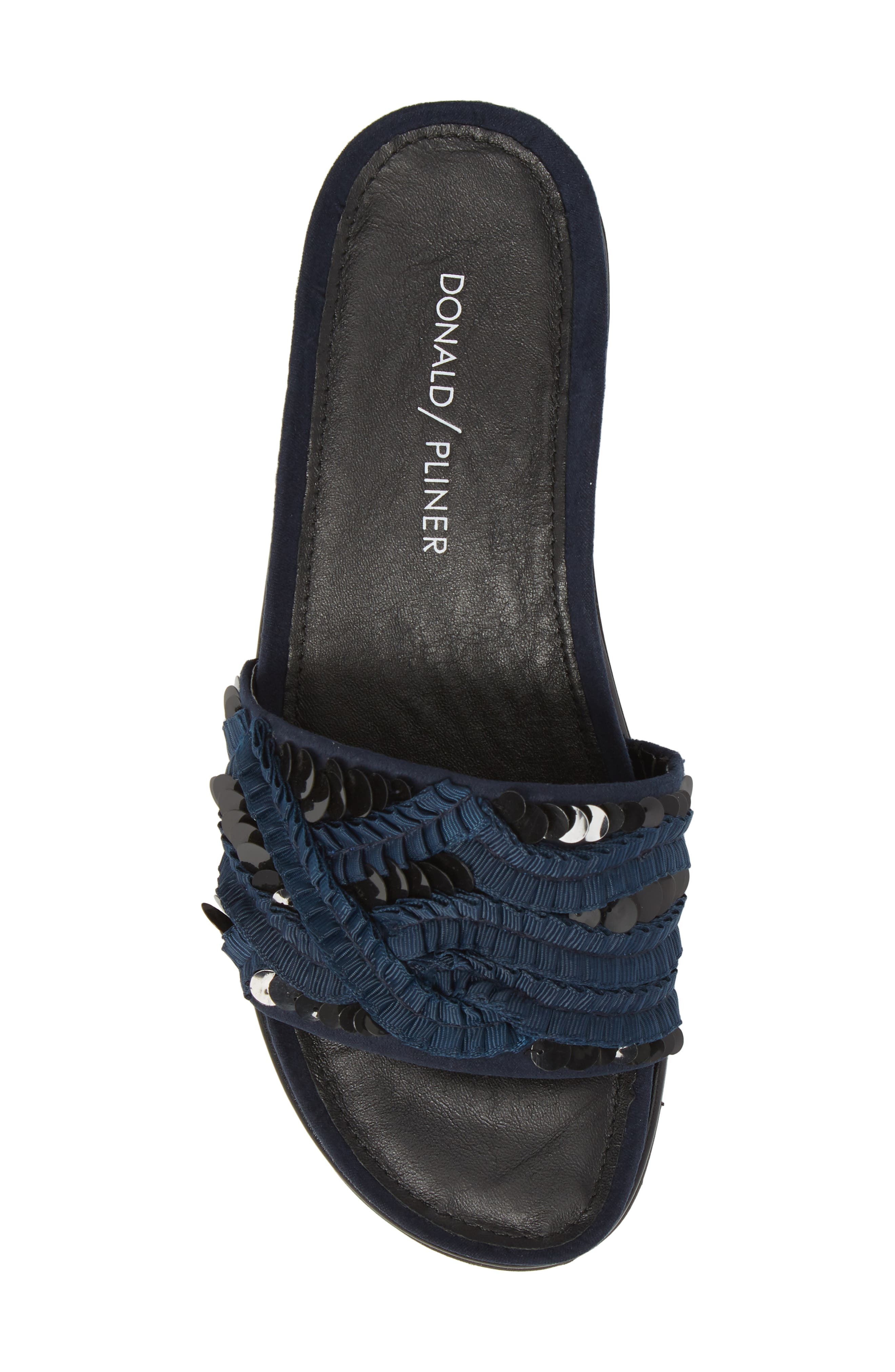 Cava Slide Sandal,                             Alternate thumbnail 5, color,                             NAVY SUEDE