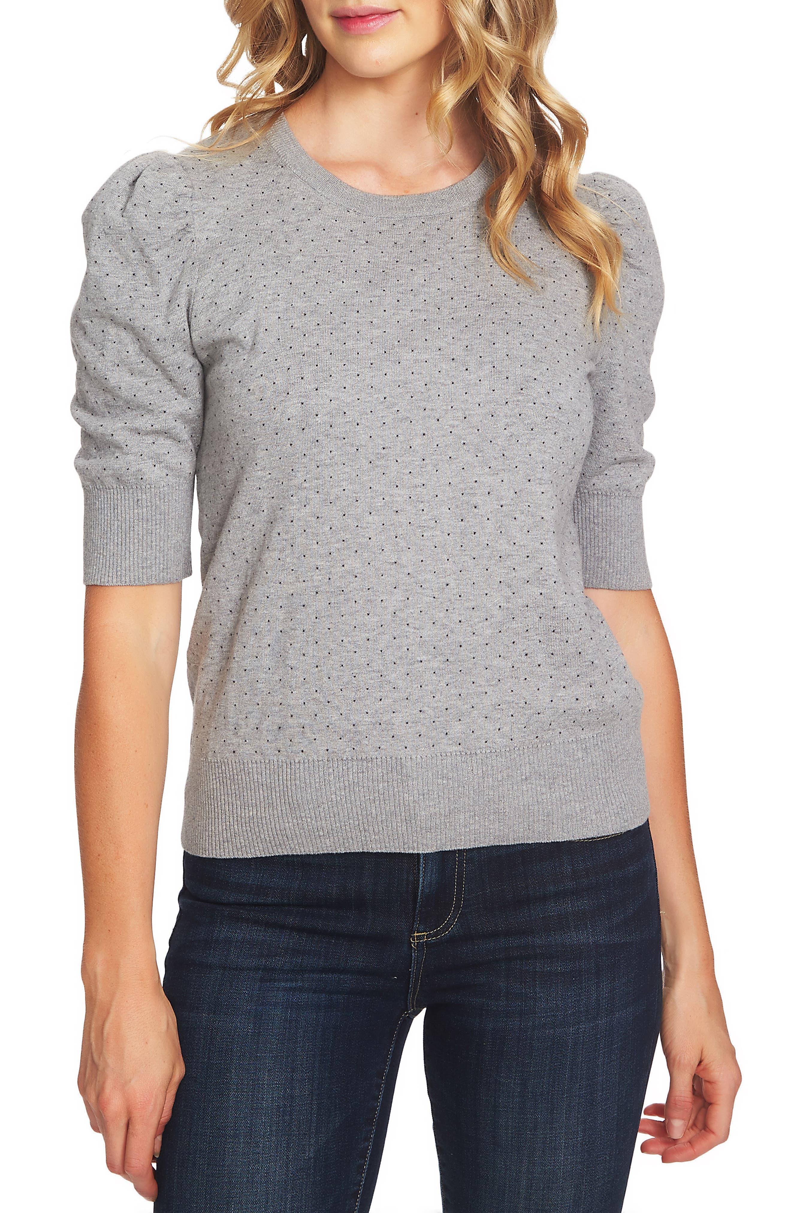 Puffed Sleeve Jacquard Sweater,                         Main,                         color, LIGHT HEATHER GREY