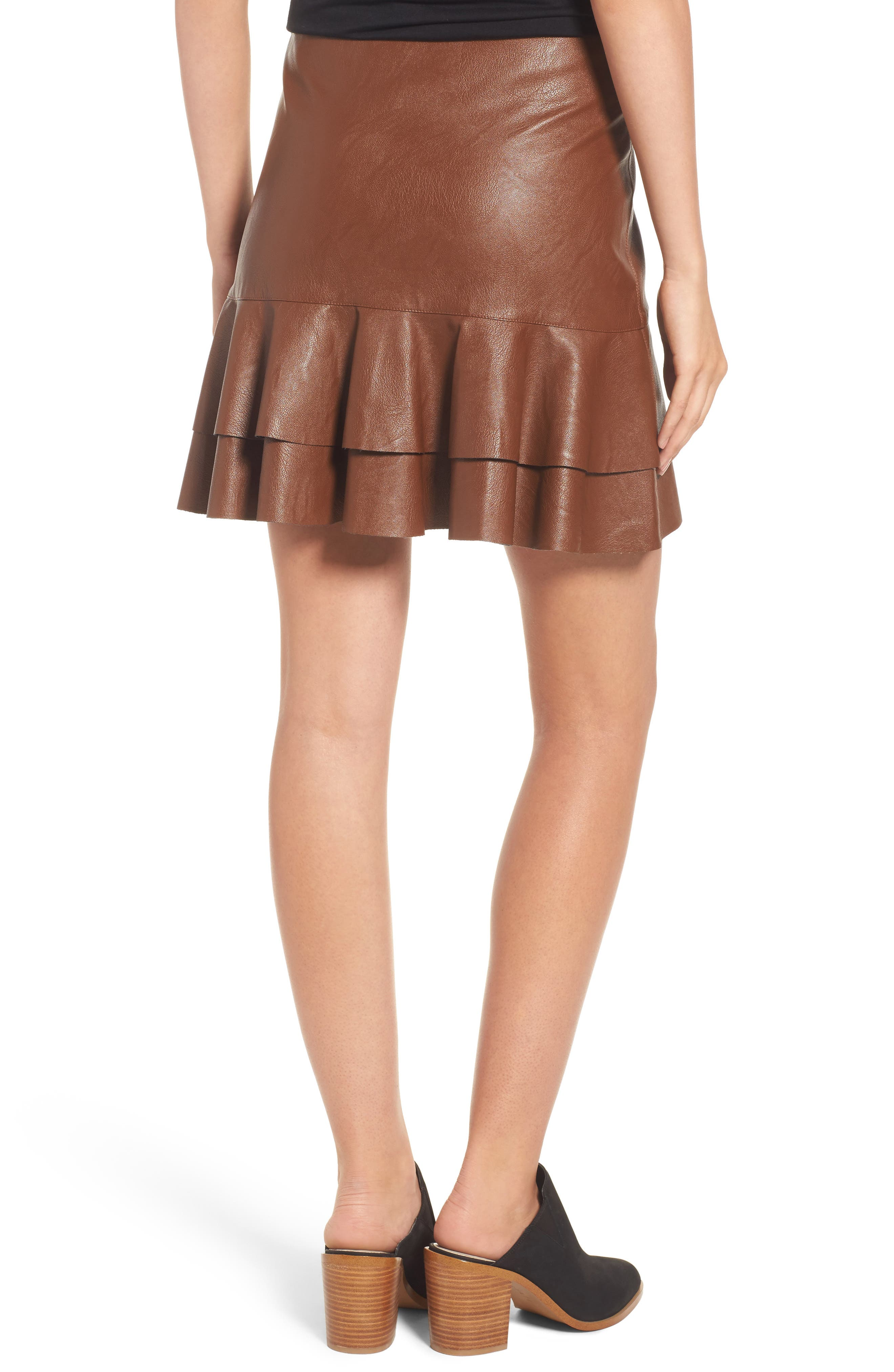 Ruffle Hem Faux Leather Skirt,                             Alternate thumbnail 2, color,