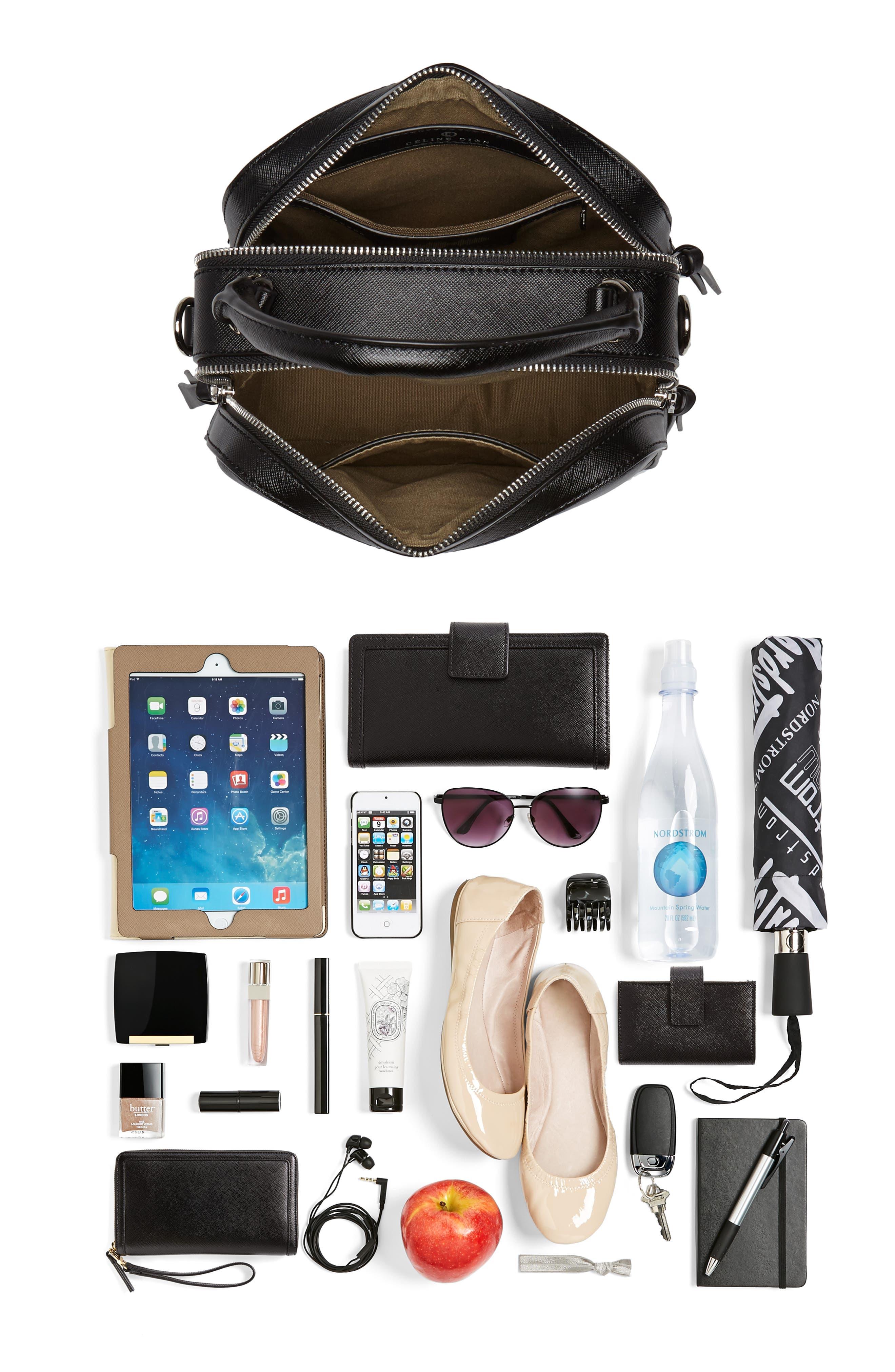 Céline Dion Motif Top Handle Leather Satchel,                             Alternate thumbnail 19, color,