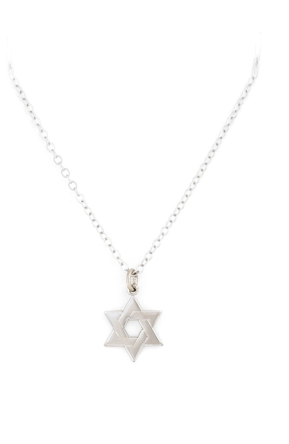 Star of David Sterling Silver Pendant Necklace,                         Main,                         color, 000