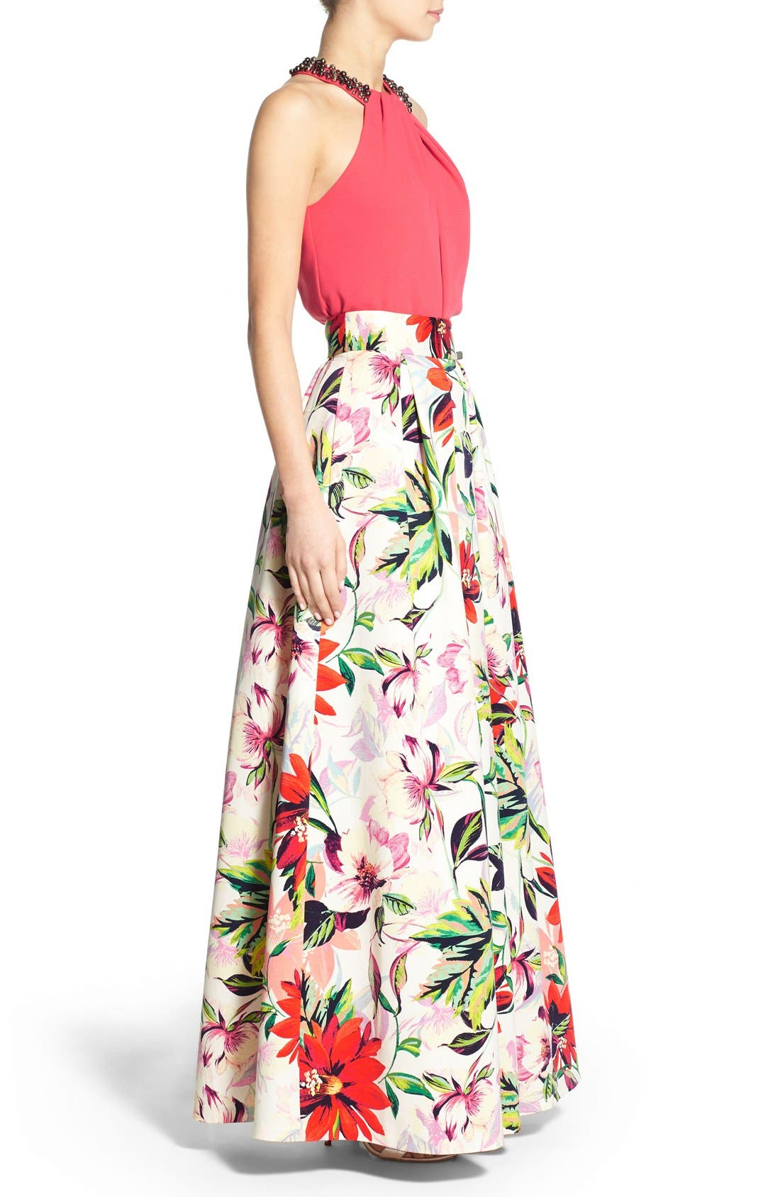 ELIZA J,                             Floral Print Faille Ball Skirt,                             Alternate thumbnail 5, color,                             831