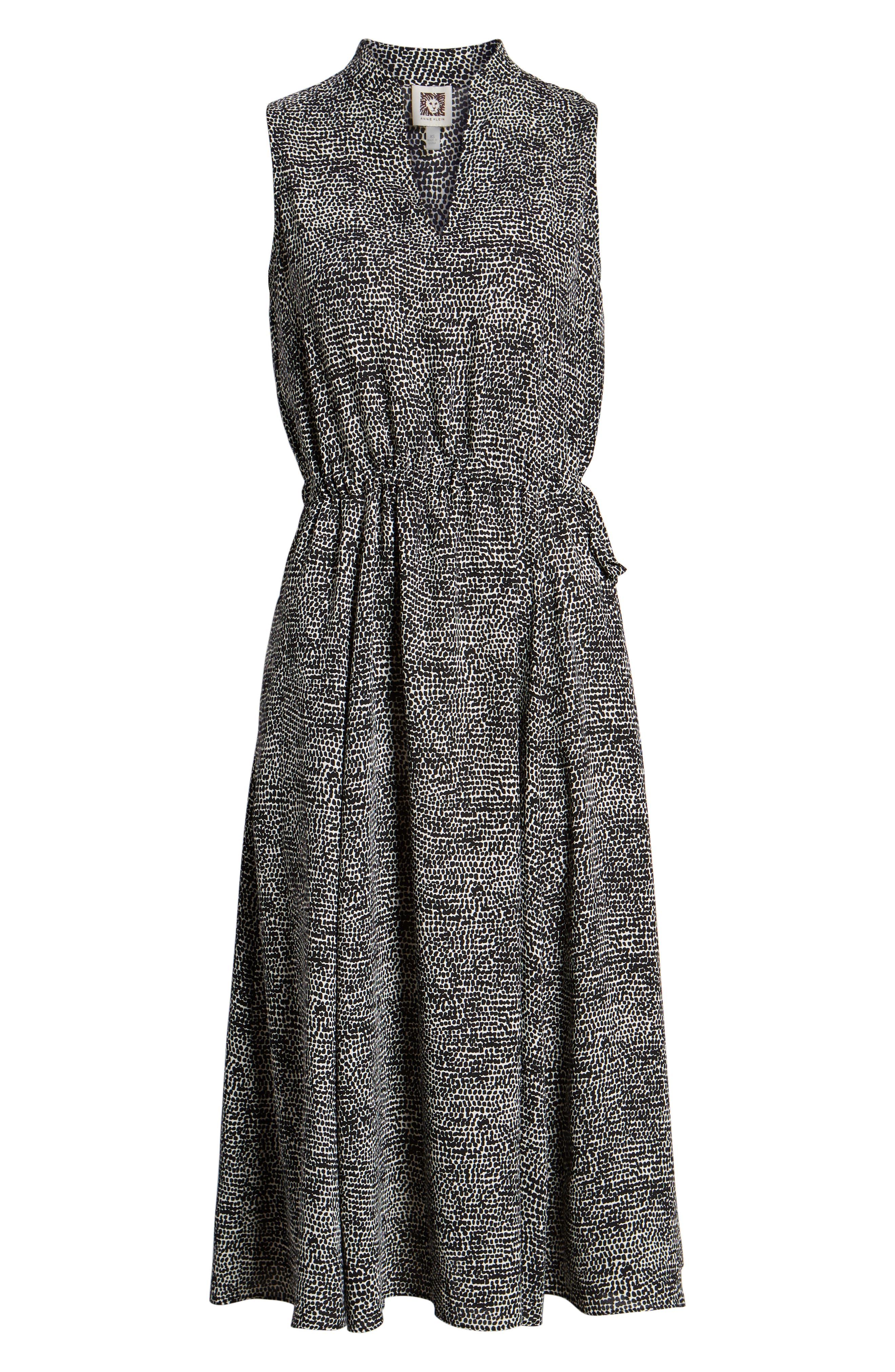 Sleeveless Print Midi Dress,                             Alternate thumbnail 6, color,                             ANNE WHITE/ ANNE BLACK