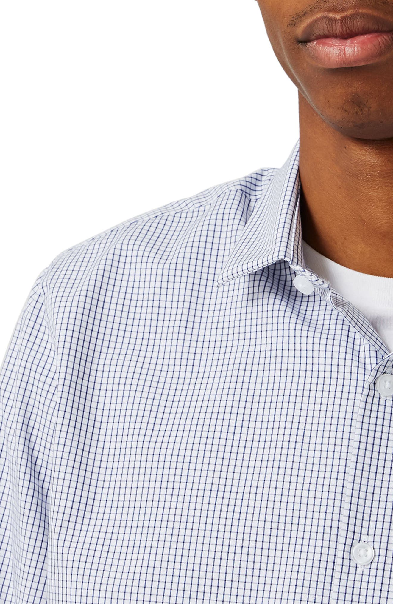 Slim Fit Grid Check Dress Shirt,                             Alternate thumbnail 2, color,                             102
