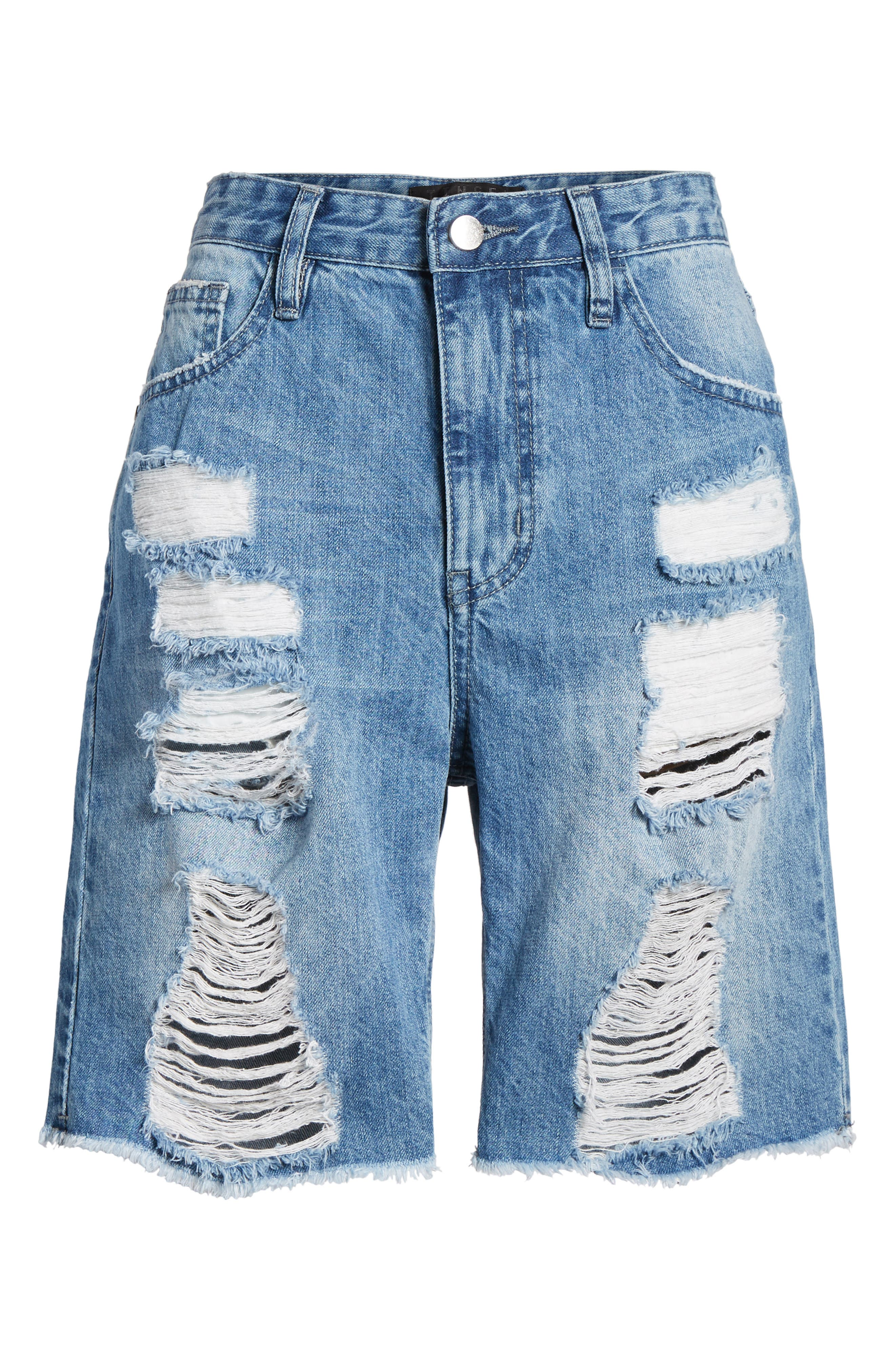 Shredded Denim Bermuda Shorts,                             Alternate thumbnail 7, color,