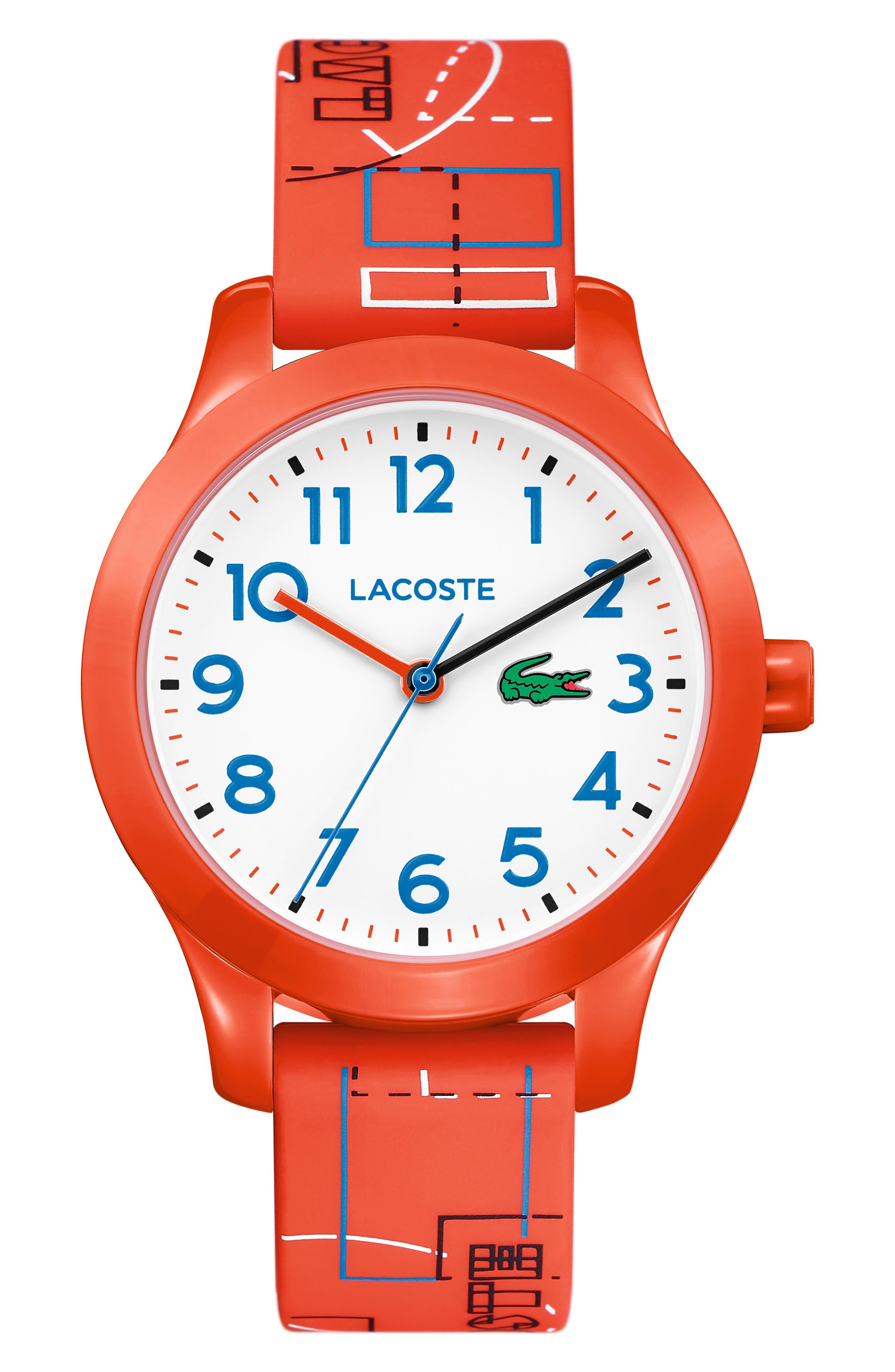 12.12 Rubber Strap Watch, 32mm,                         Main,                         color, ORANGE/ WHITE/ ORANGE