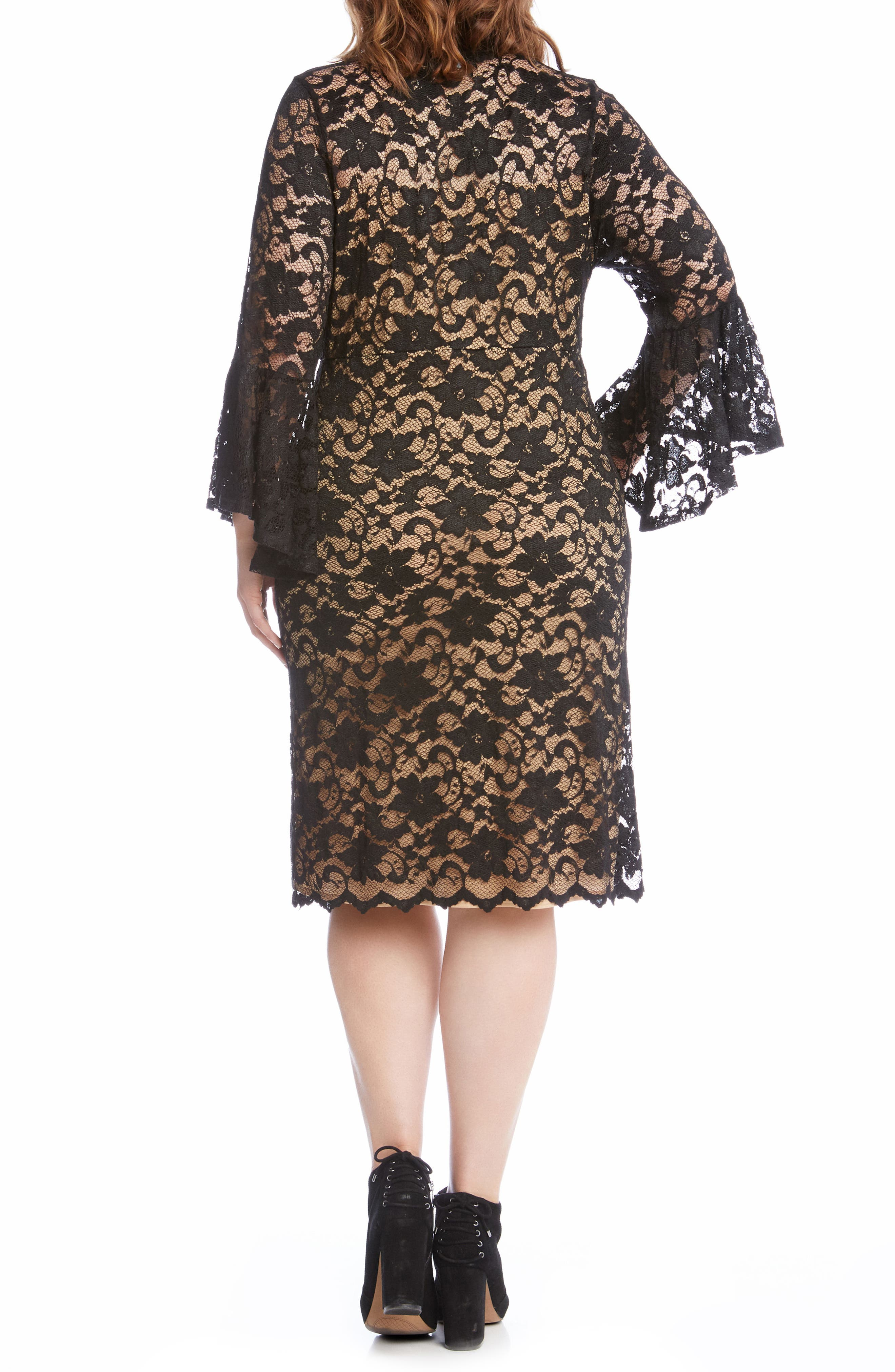 Bell Sleeve Lace Shift Dress,                             Alternate thumbnail 3, color,                             011