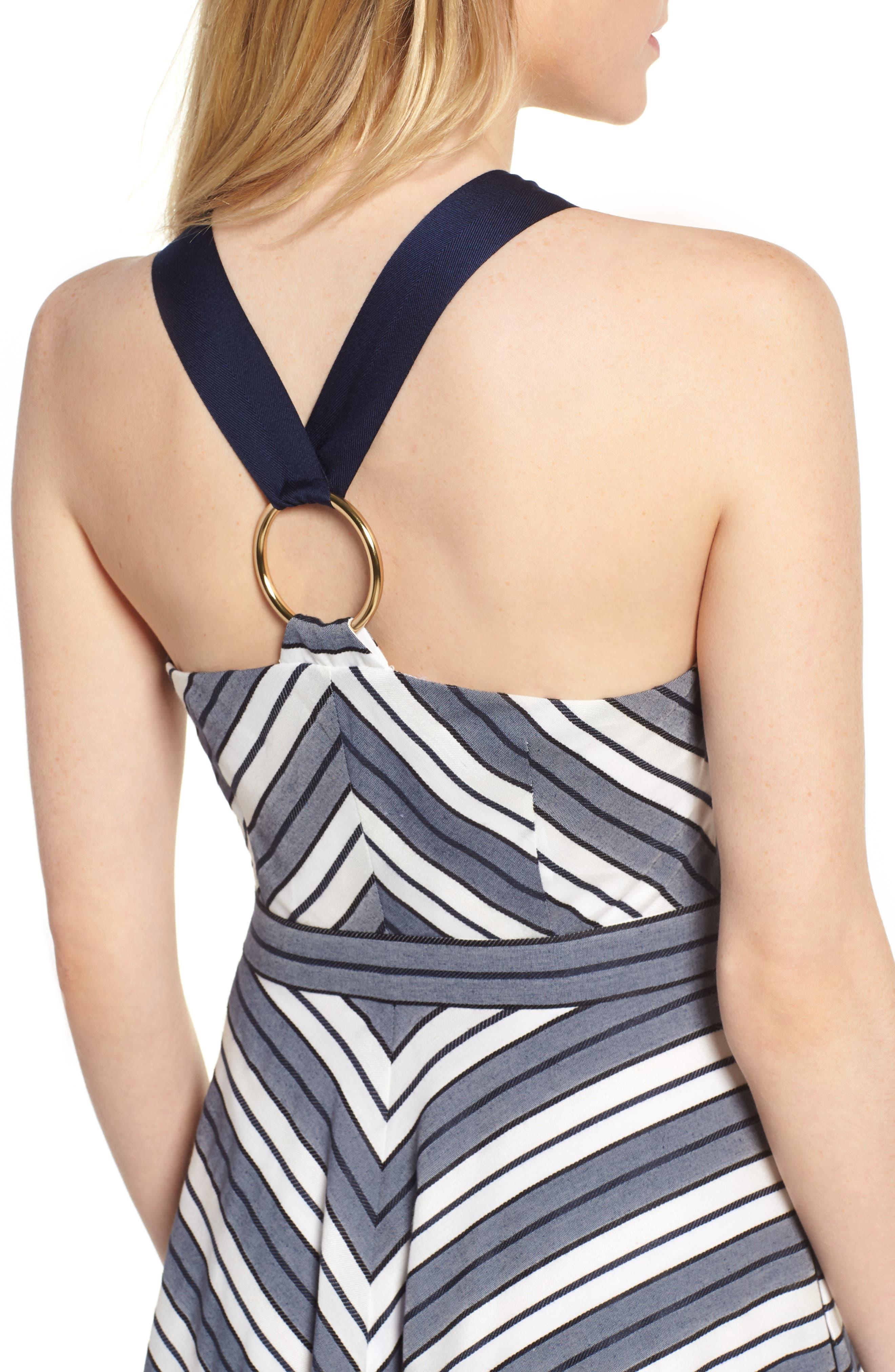 Stripe V-Neck Dress,                             Alternate thumbnail 4, color,