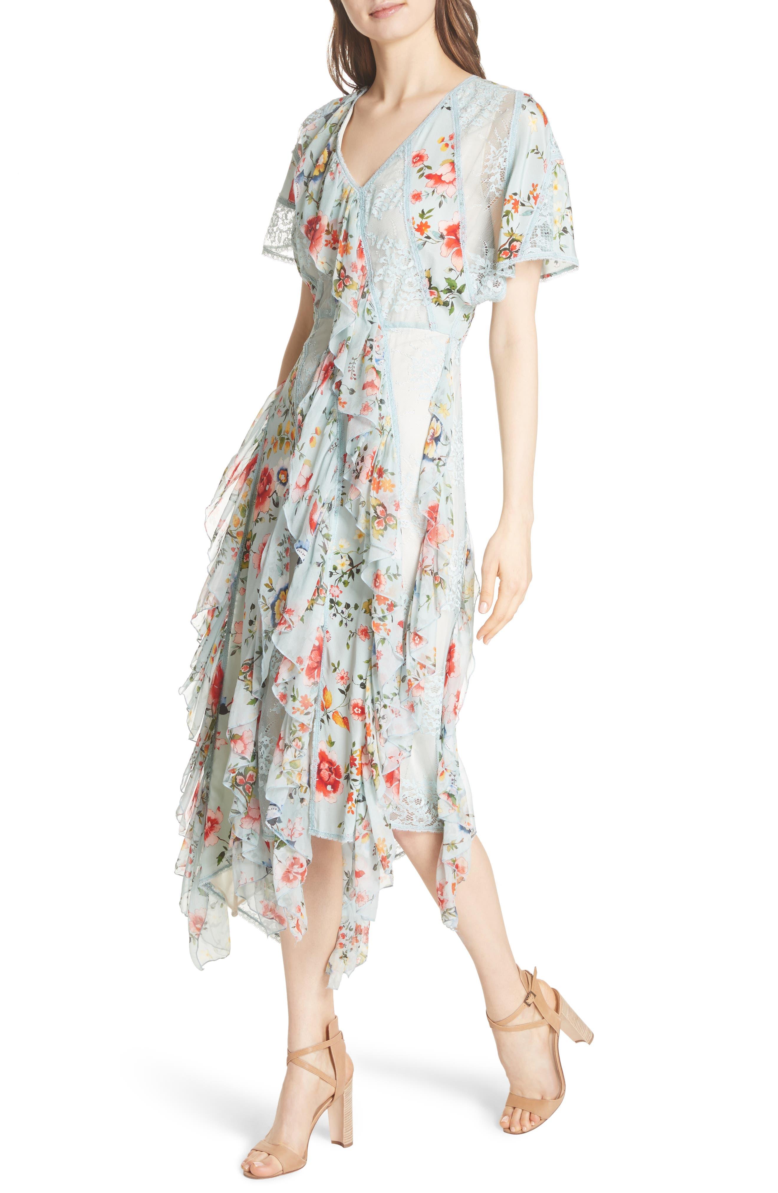 Kadence Ruffled Silk & Lace Midi Dress,                             Alternate thumbnail 4, color,