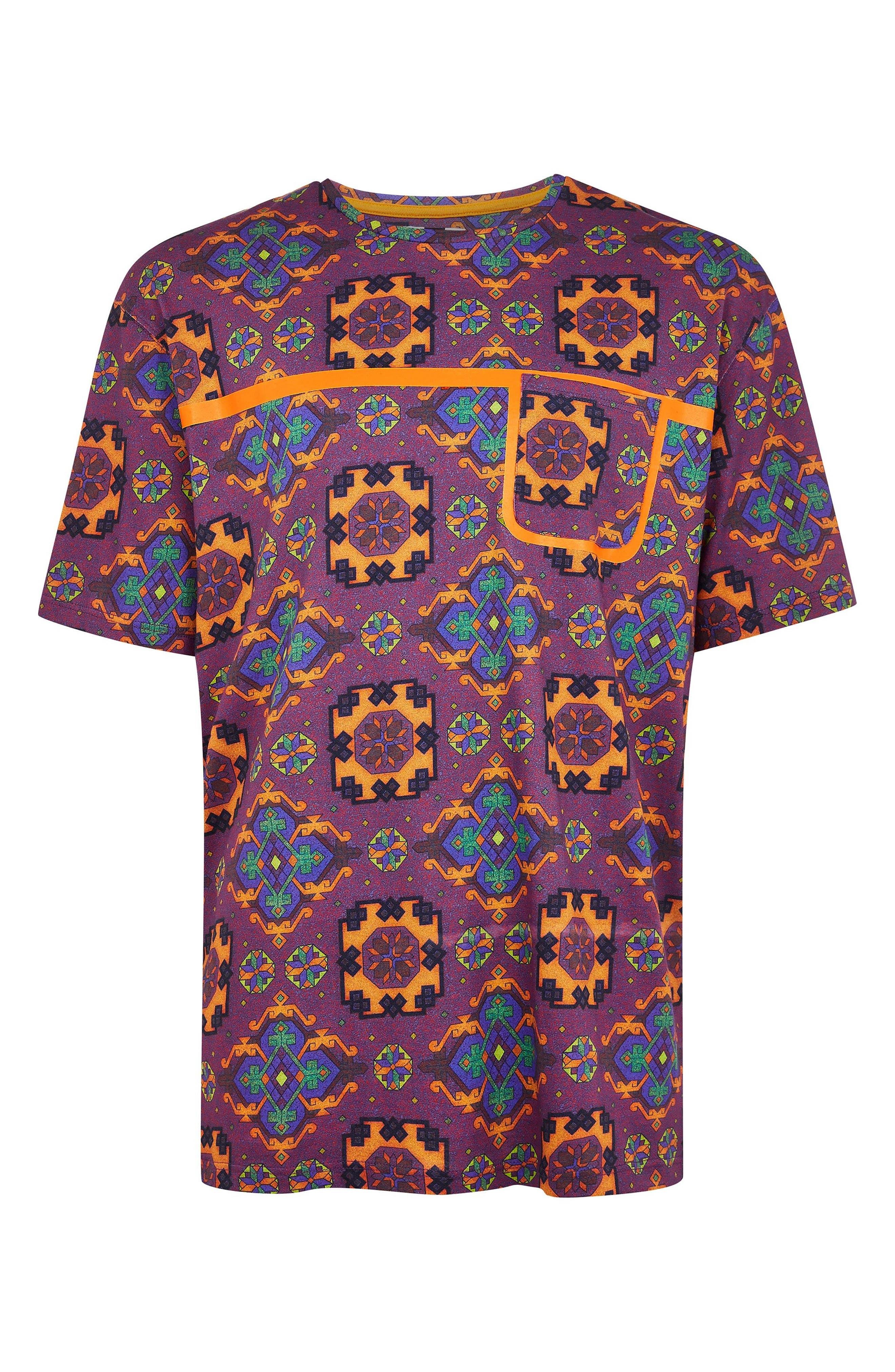 Tapestry Print Pocket T-Shirt,                             Alternate thumbnail 4, color,                             500