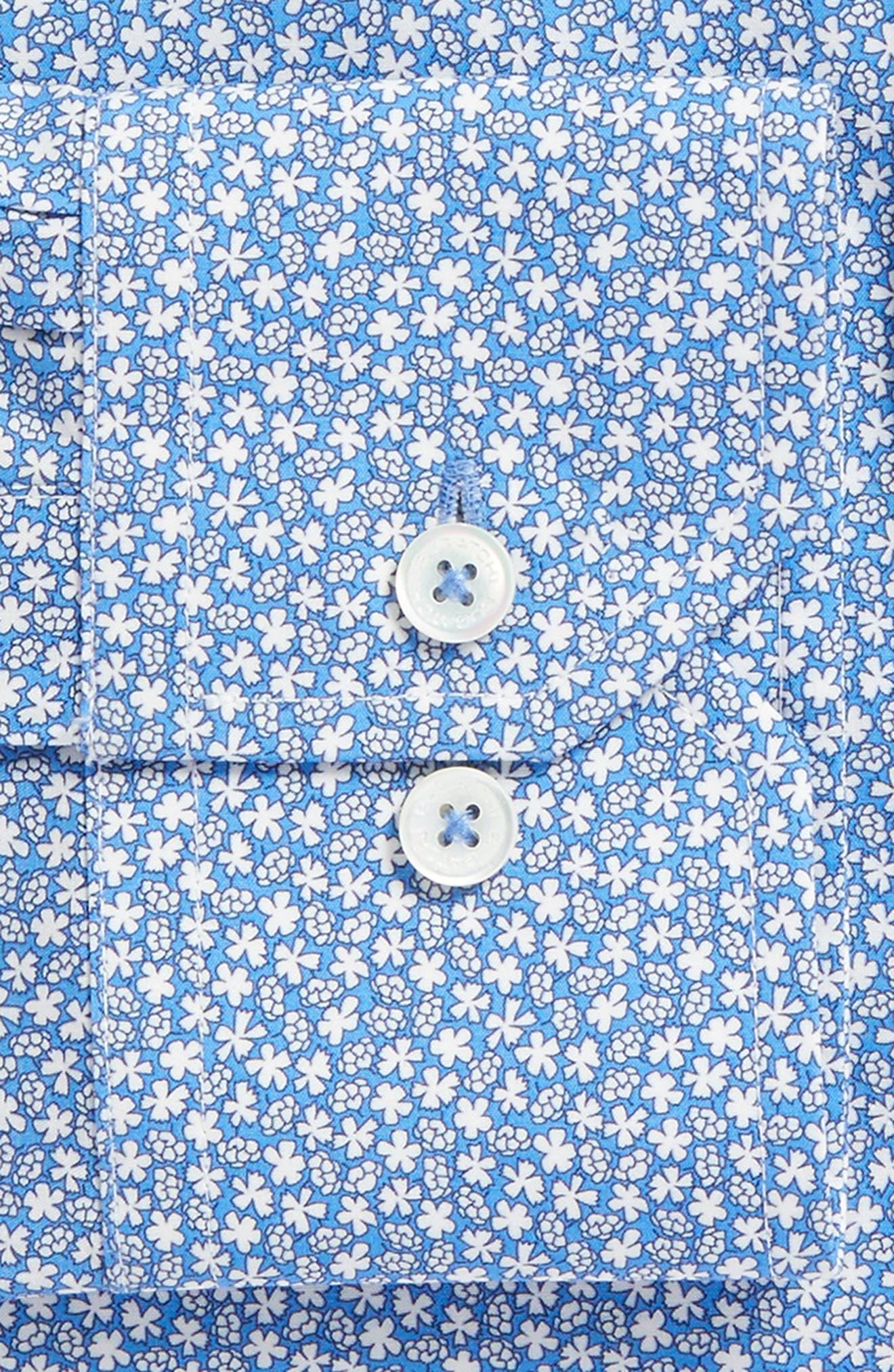 Trim Fit Print Dress Shirt,                             Alternate thumbnail 6, color,                             CLASSIC BLUE