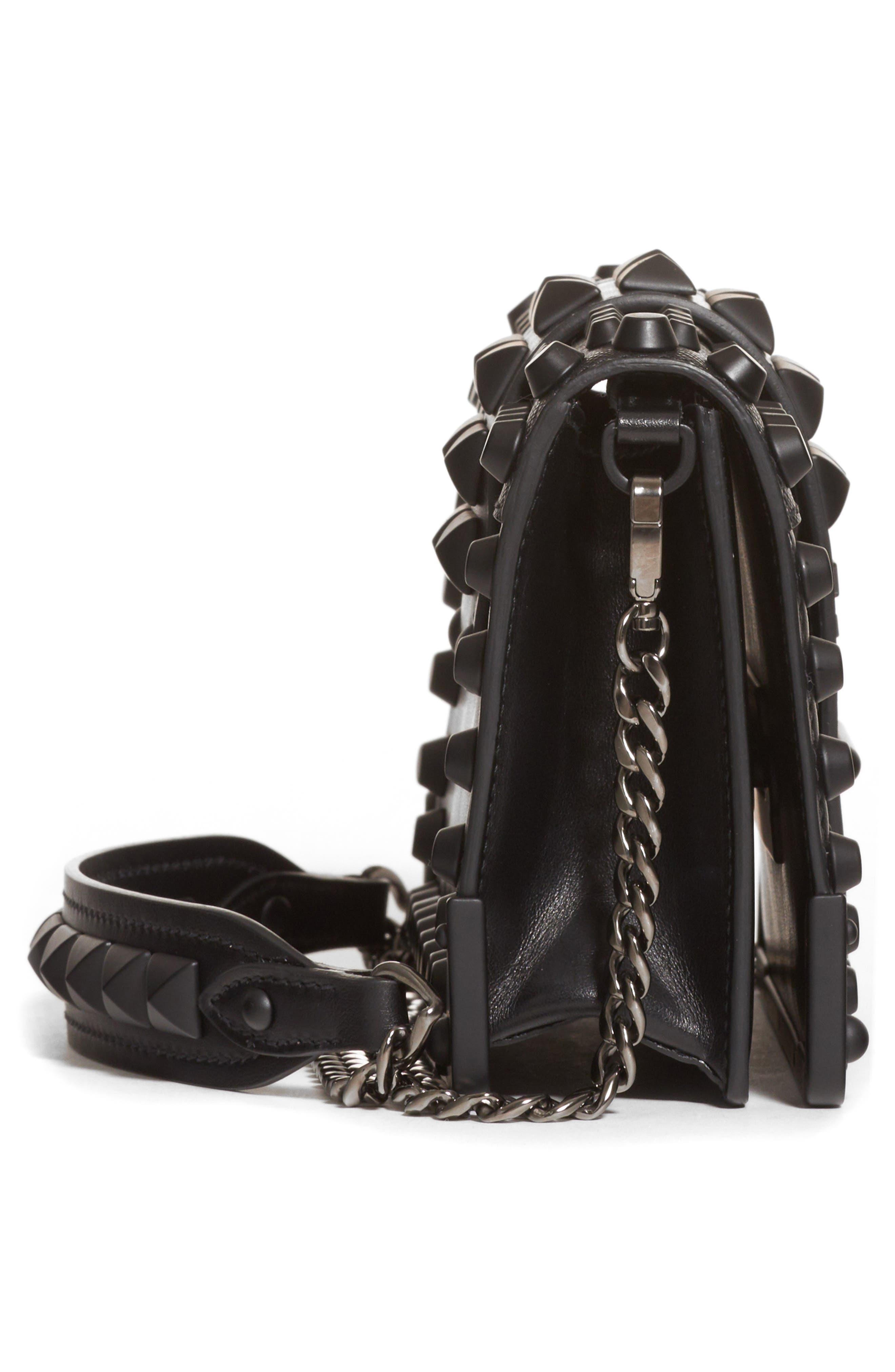 PRADA,                             Cahier Studded Leather Crossbody Bag,                             Alternate thumbnail 4, color,                             NERO/ NERO