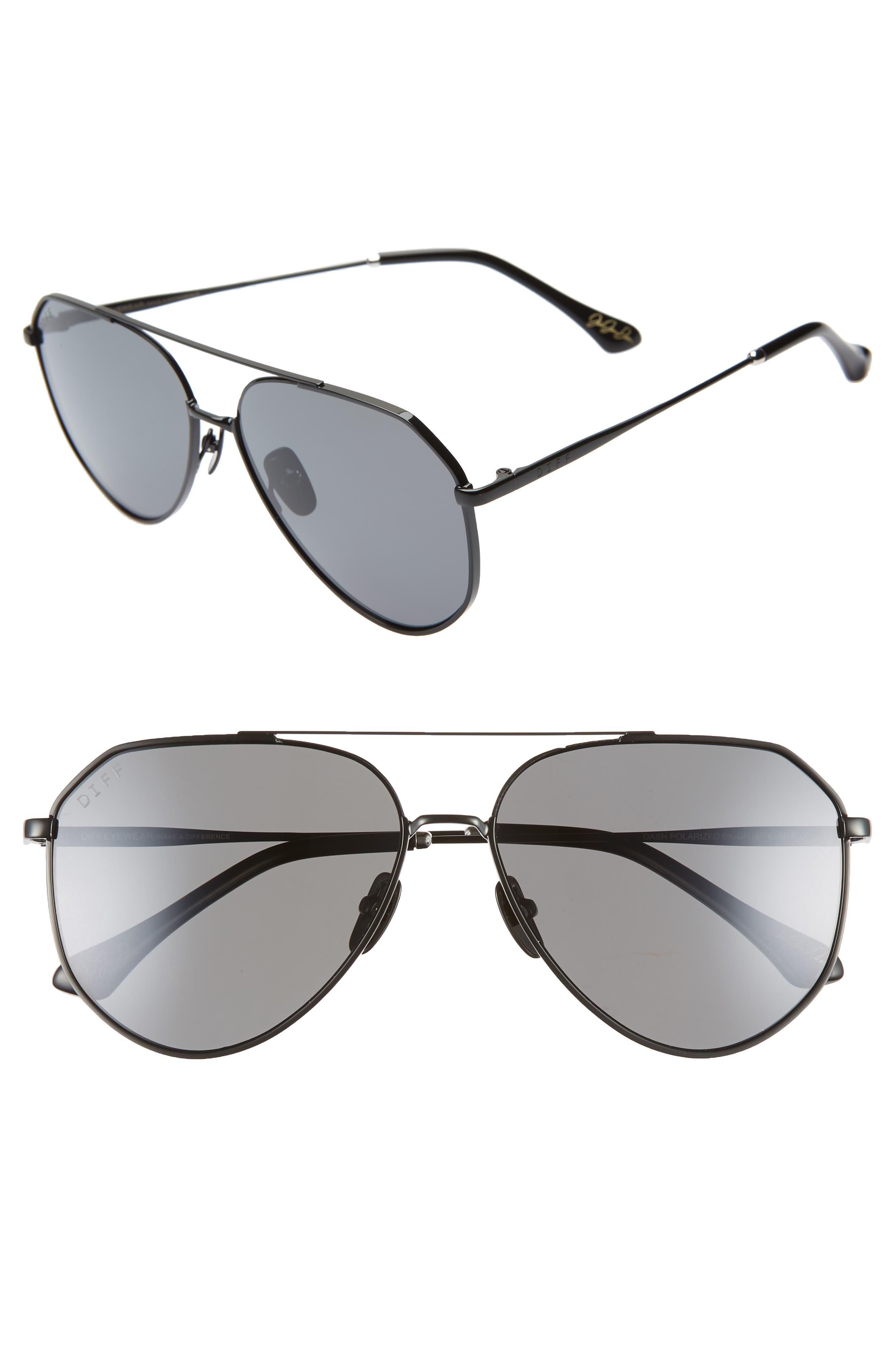 x Jessie James Decker Dash 61mm Polarized Aviator Sunglasses, Main, color, POLISHED BLACK