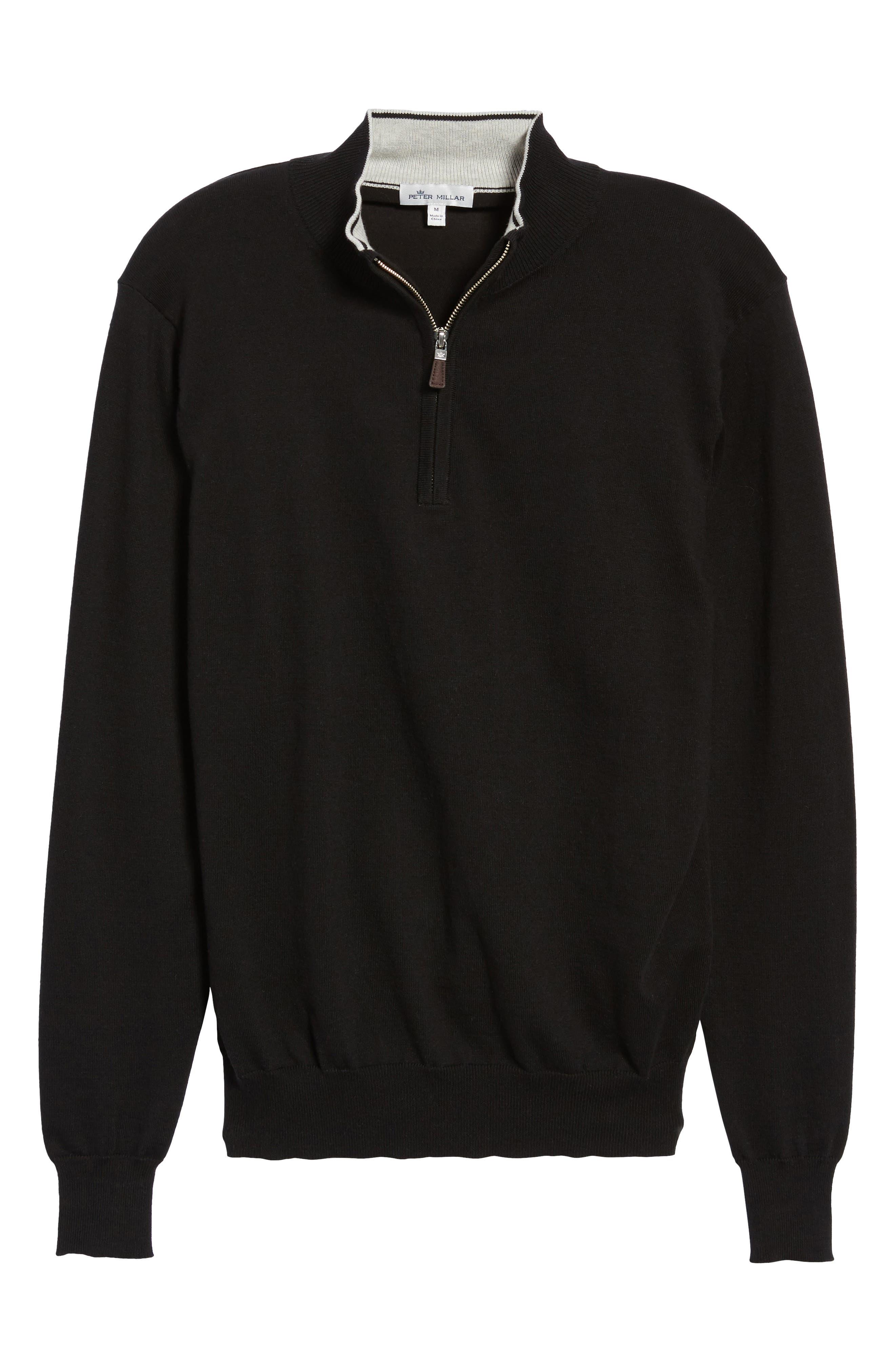 PETER MILLAR,                             Crown Quarter Zip Sweater,                             Alternate thumbnail 6, color,                             BLACK