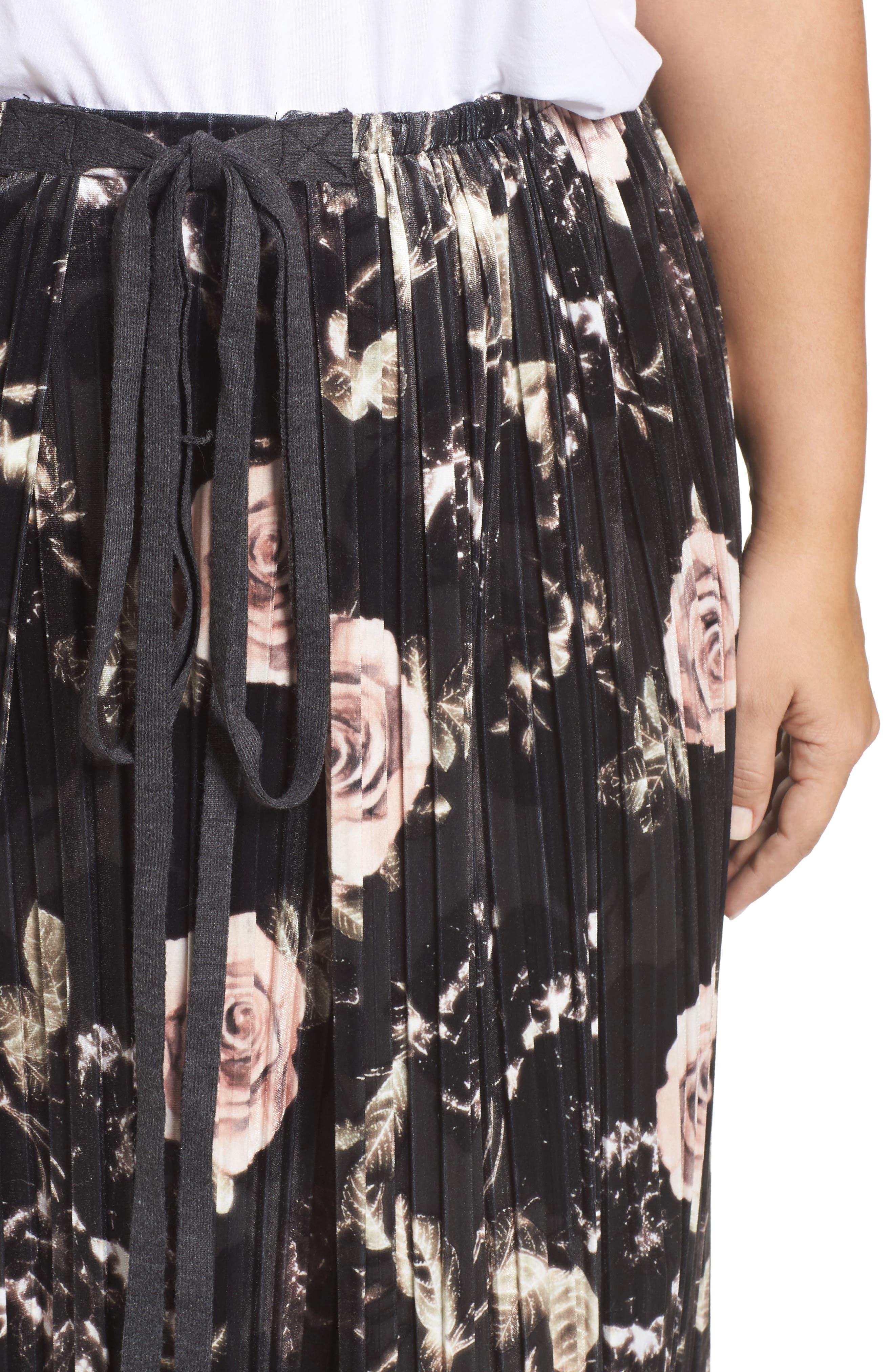 Rose Print Pleated Velvet Pencil Skirt,                             Alternate thumbnail 4, color,                             333
