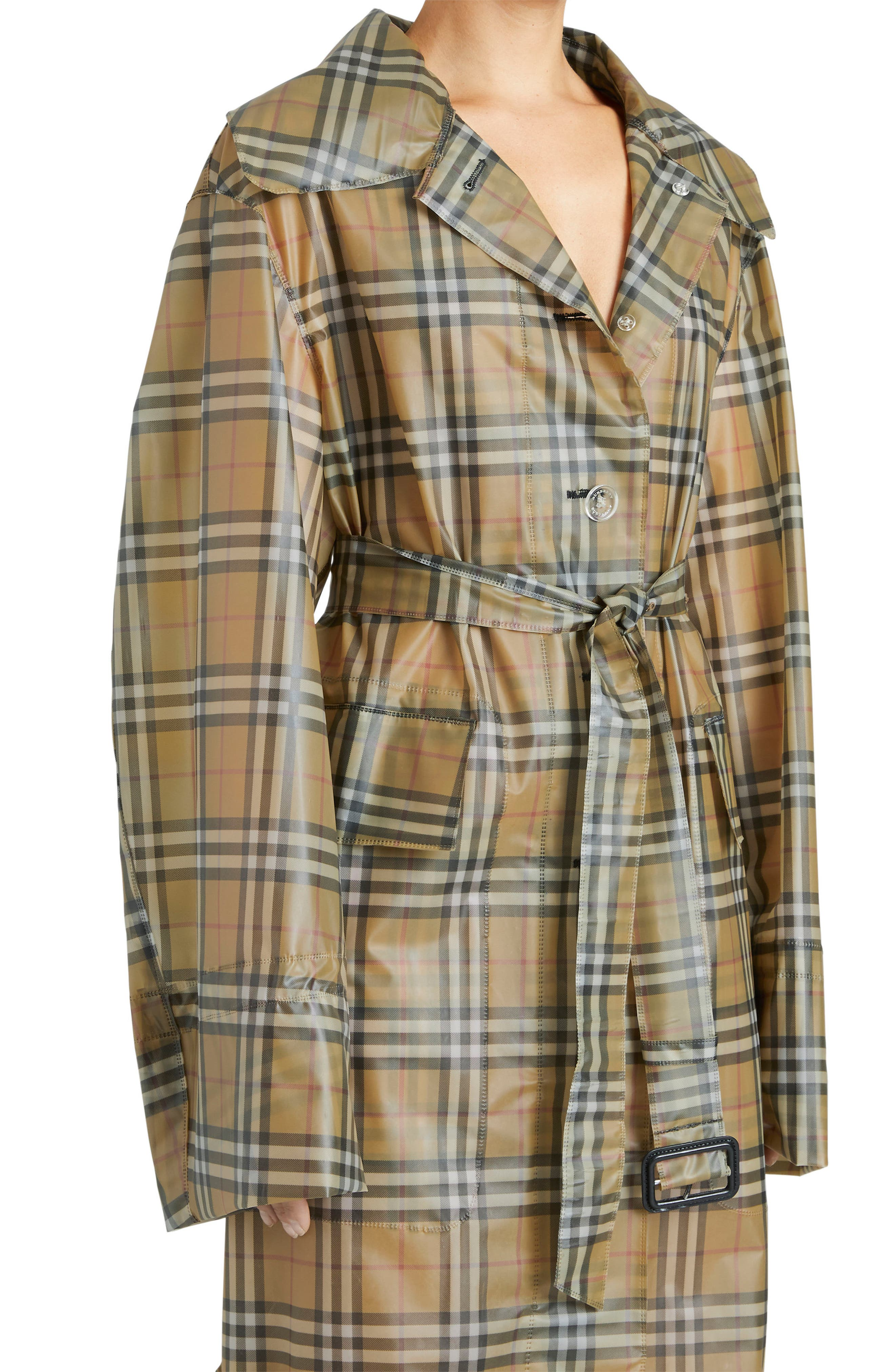 Vintage Check Plastic Trench Coat,                             Alternate thumbnail 4, color,                             704