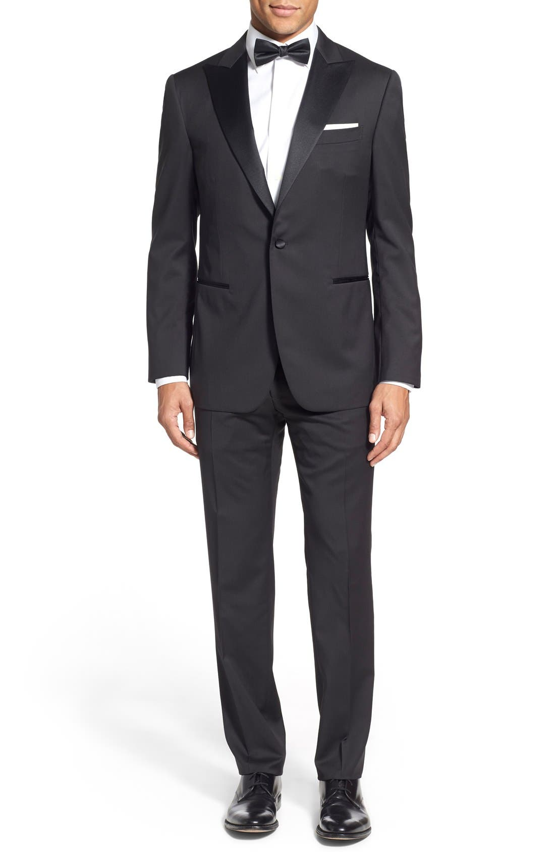 Classic Fit Wool Tuxedo,                         Main,                         color, 001