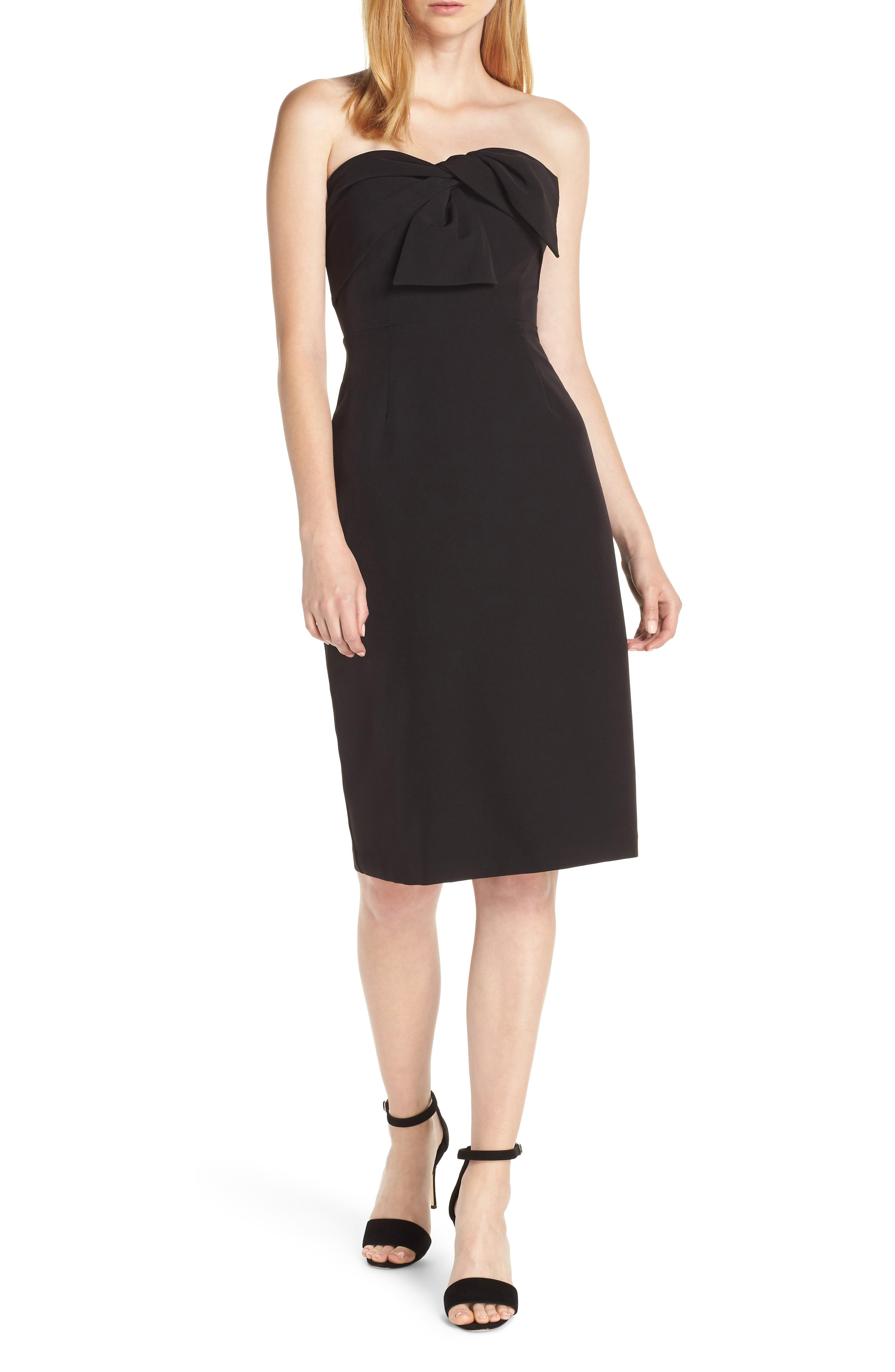 Strapless Bow Detail Sheath Dress, Main, color, BLACK
