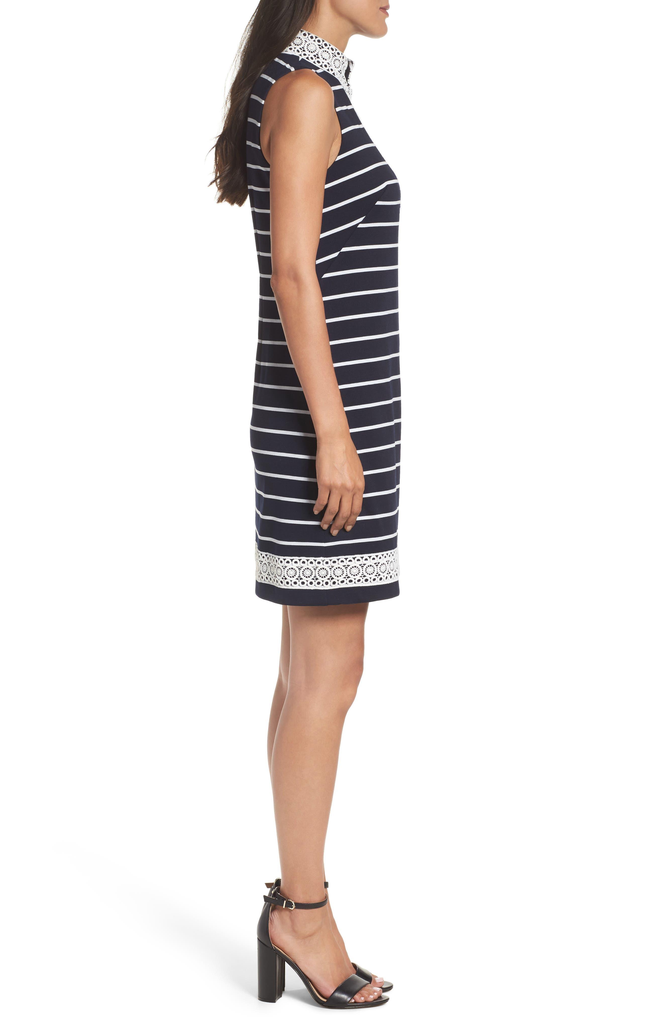 Mandarin Collar Stripe Shift Dress,                             Alternate thumbnail 3, color,                             407
