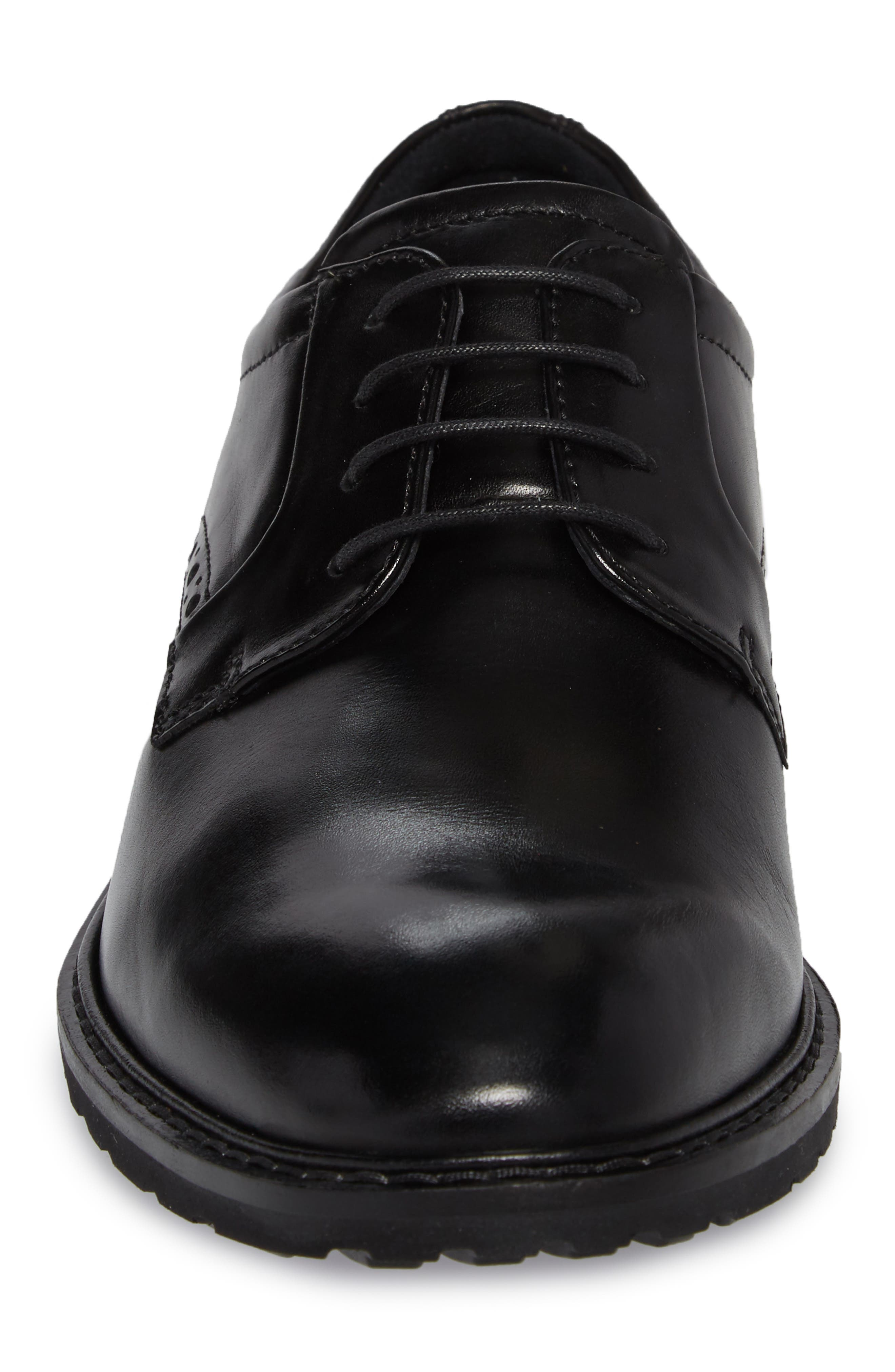 Vitrus I Plain Toe Derby,                             Alternate thumbnail 4, color,                             BLACK LEATHER