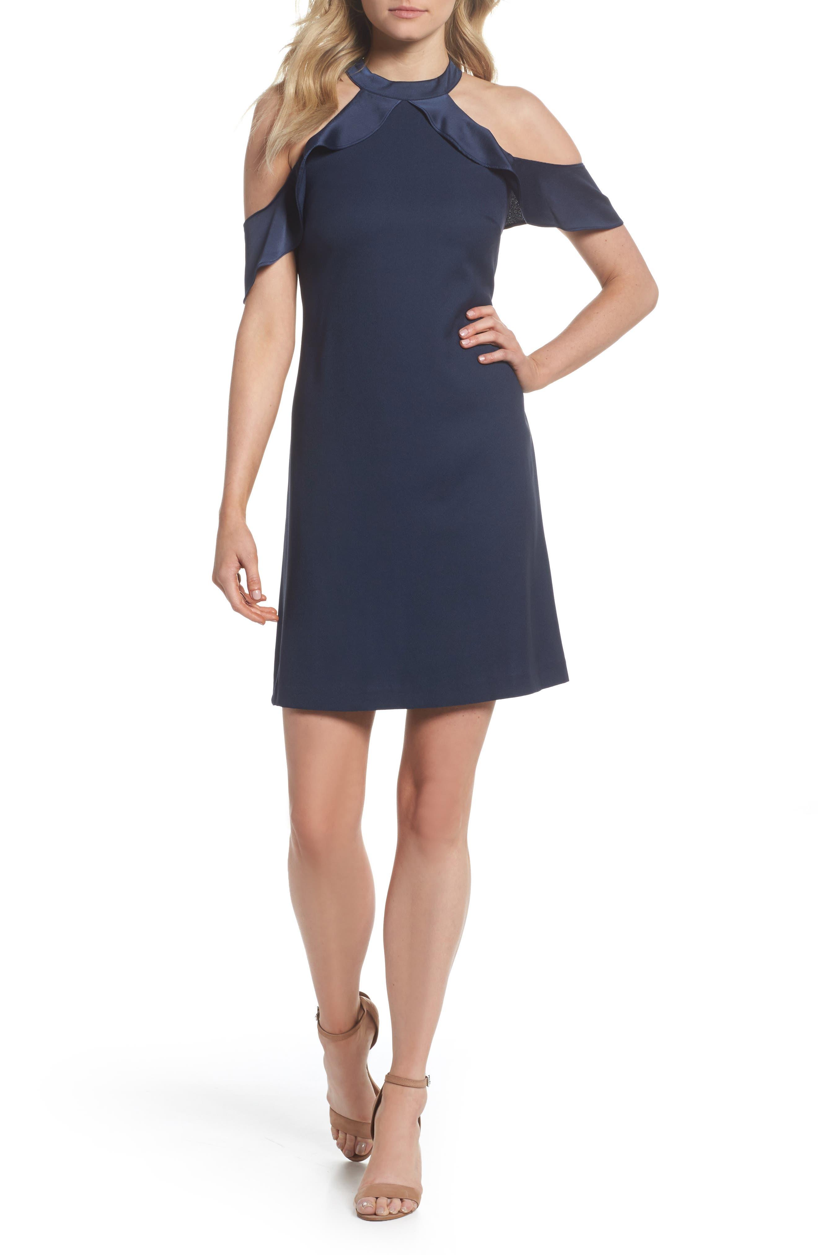Cold Shoulder Satin Trim Dress,                         Main,                         color, NAVY