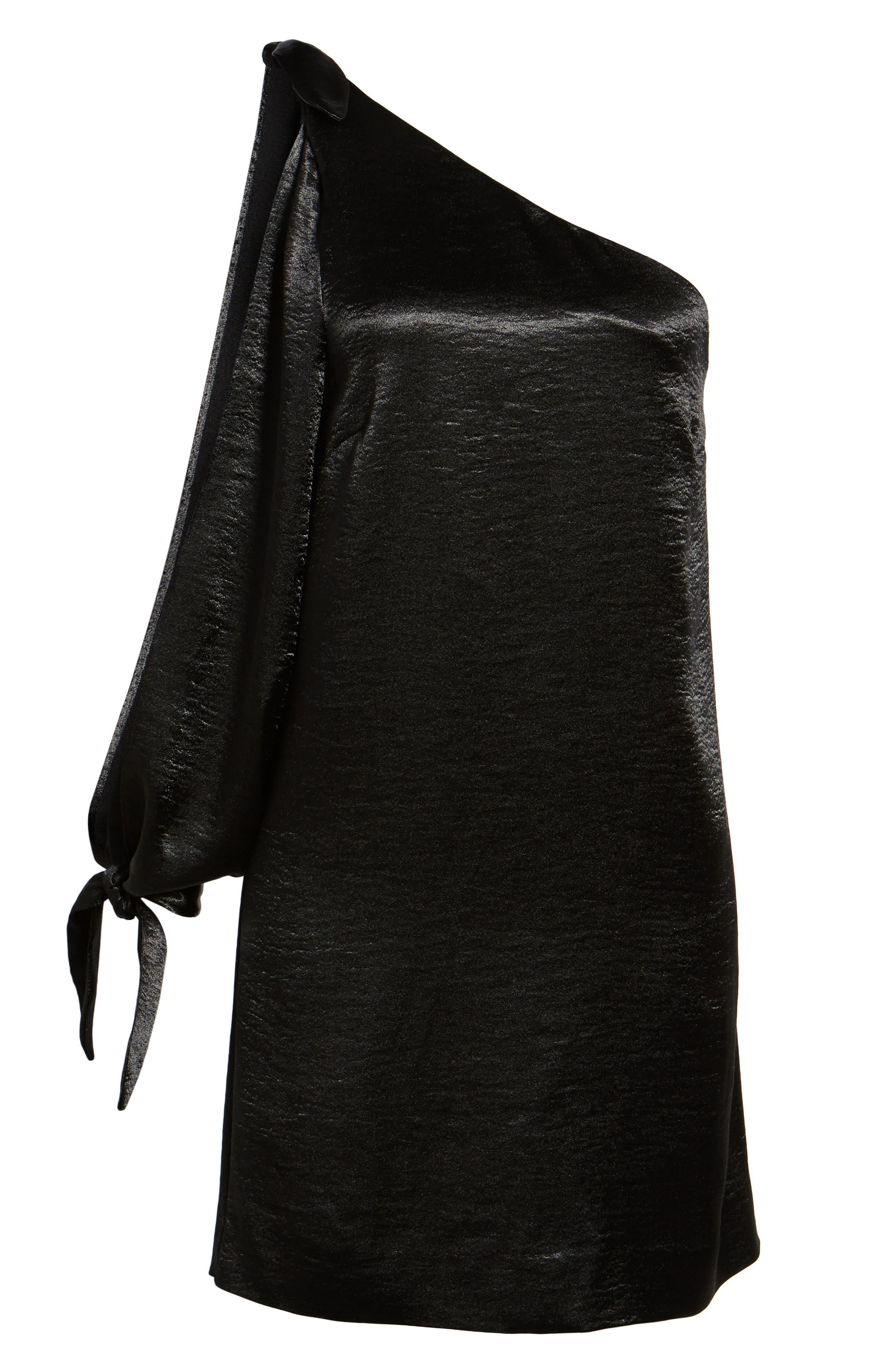 Nash One-Shoulder Shift Dress,                             Alternate thumbnail 6, color,                             001