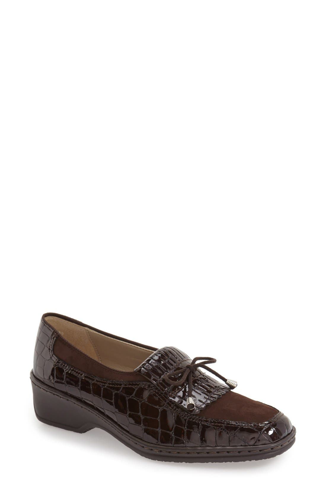 'Rachel' Loafer,                             Main thumbnail 1, color,                             BROWN NUBUCK LEATHER