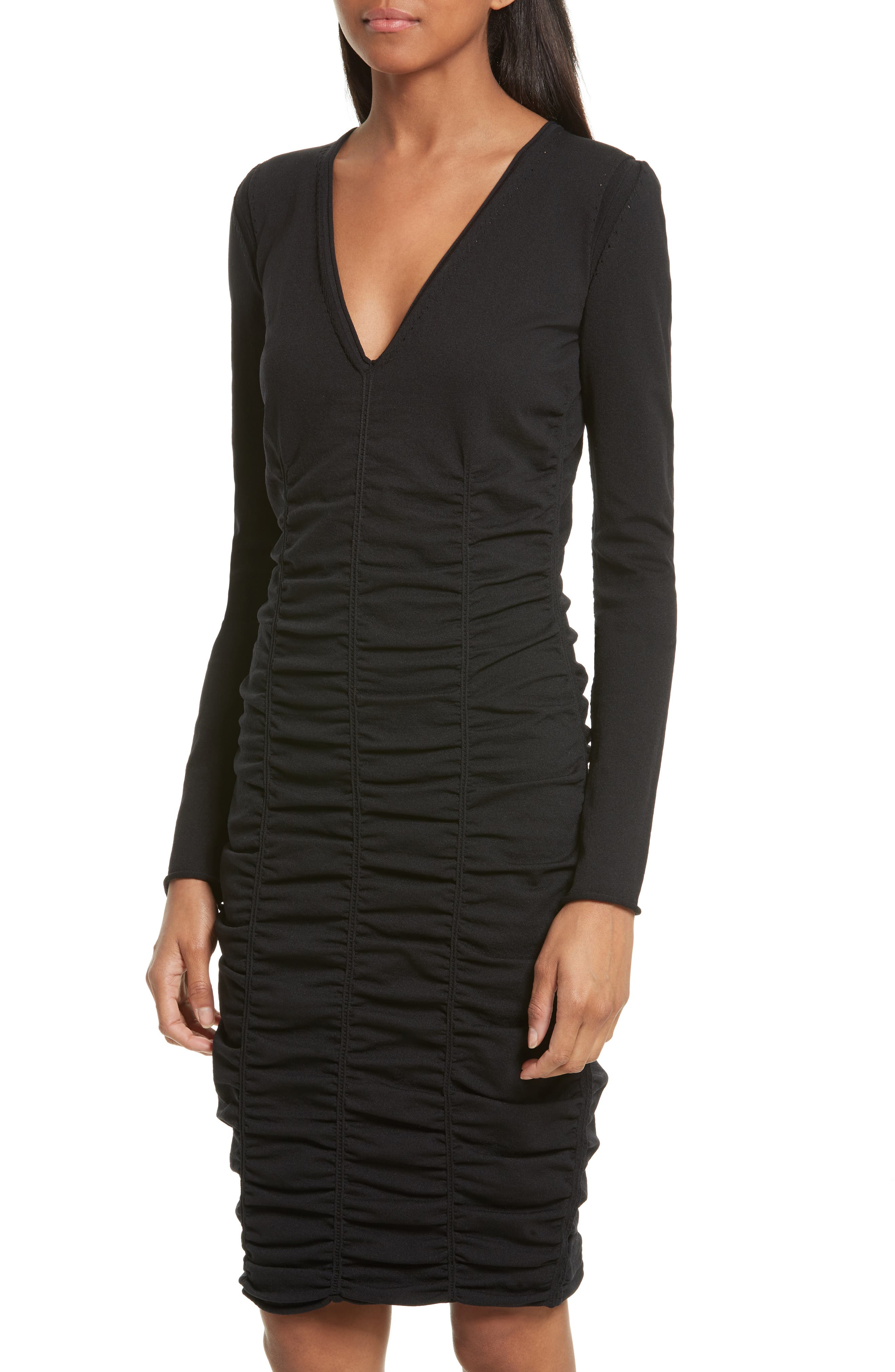 Ruched Dress,                             Alternate thumbnail 4, color,                             001