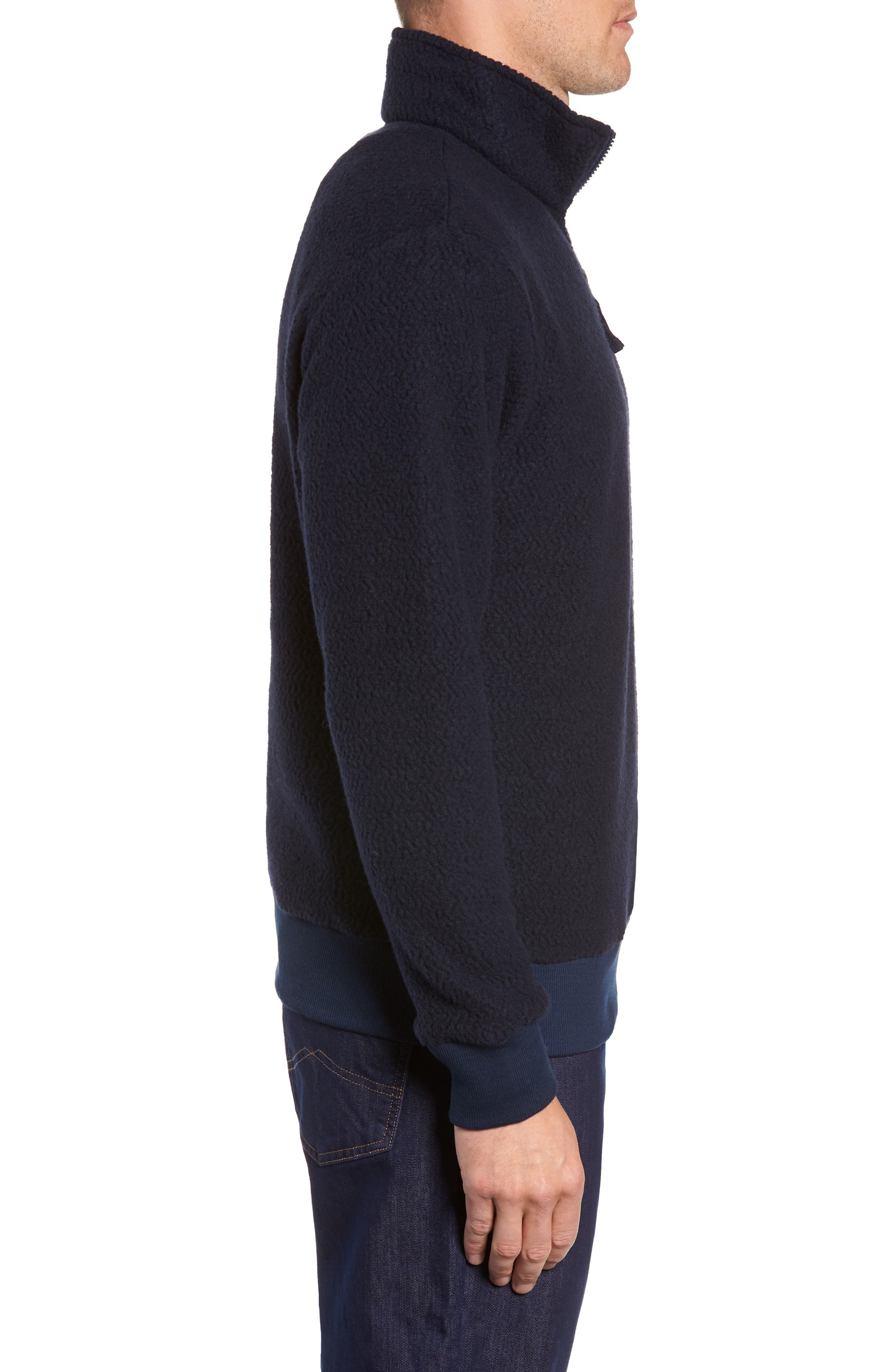PATAGONIA,                             Woolyester Fleece Quarter Zip Pullover,                             Alternate thumbnail 3, color,                             CLASSIC NAVY